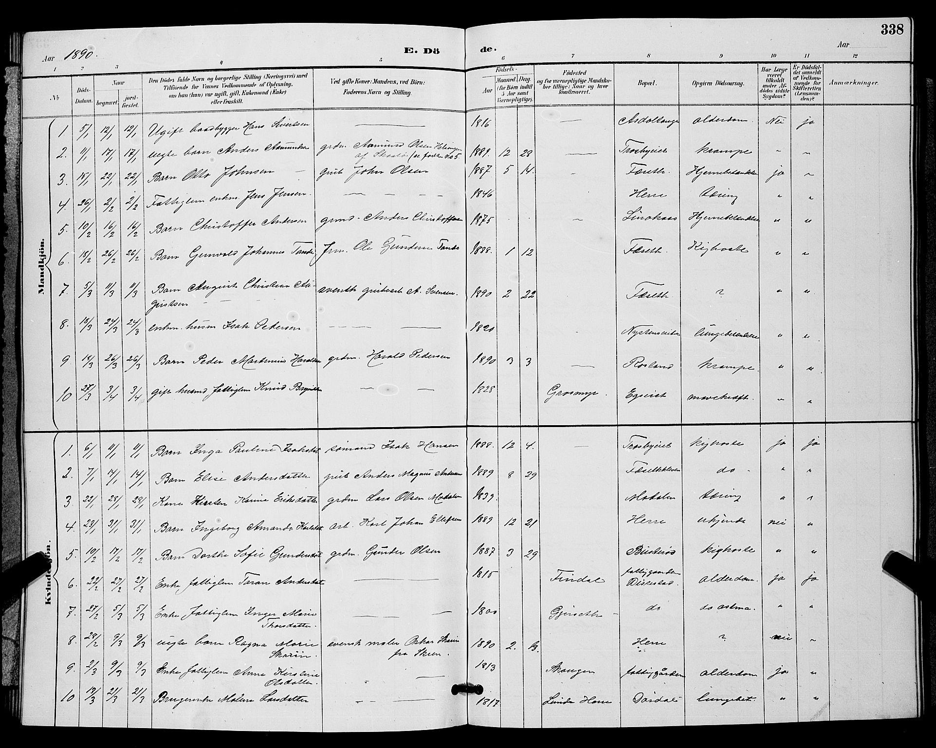 SAKO, Bamble kirkebøker, G/Ga/L0009: Klokkerbok nr. I 9, 1888-1900, s. 338