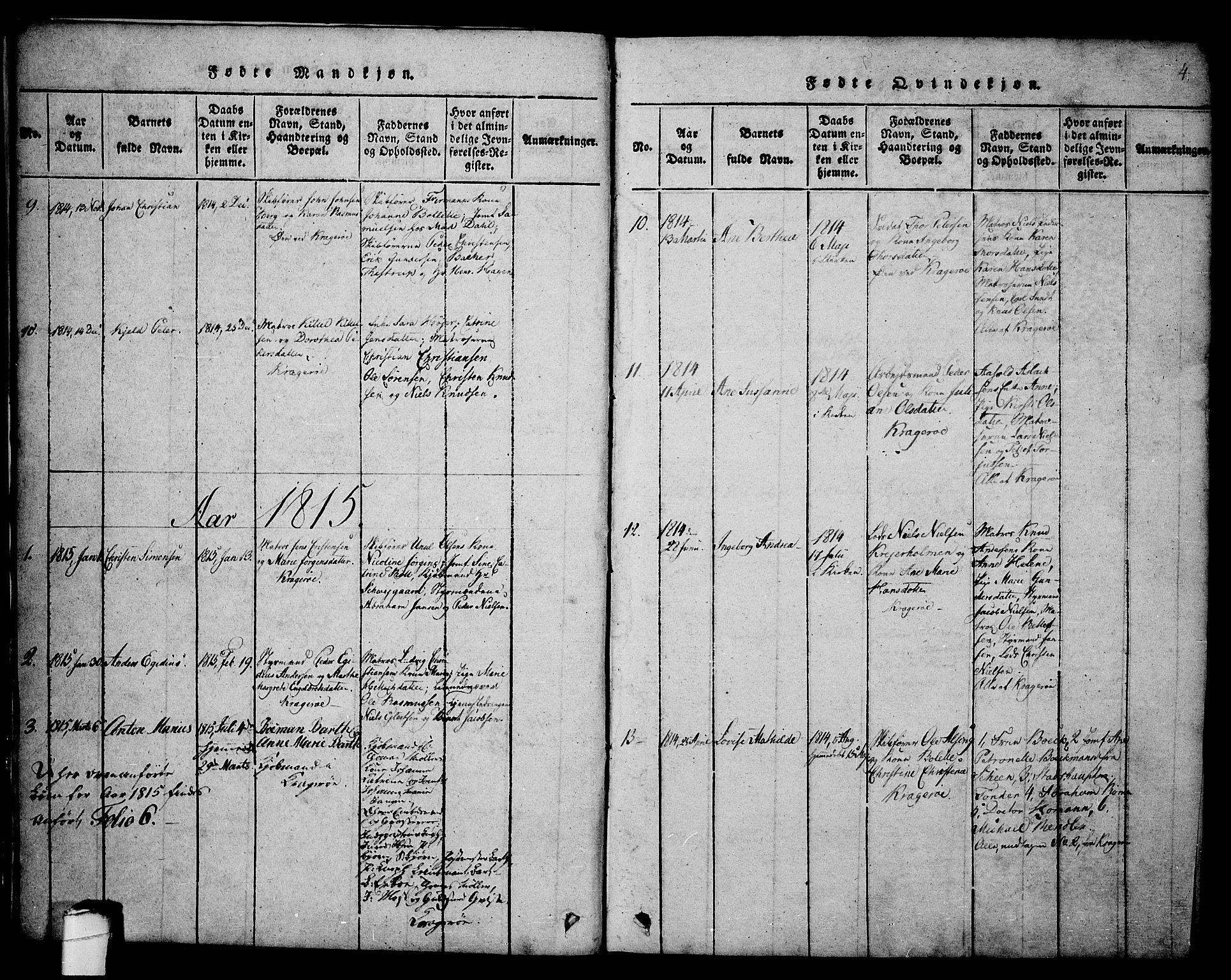SAKO, Kragerø kirkebøker, G/Ga/L0002: Klokkerbok nr. 2, 1814-1831, s. 4