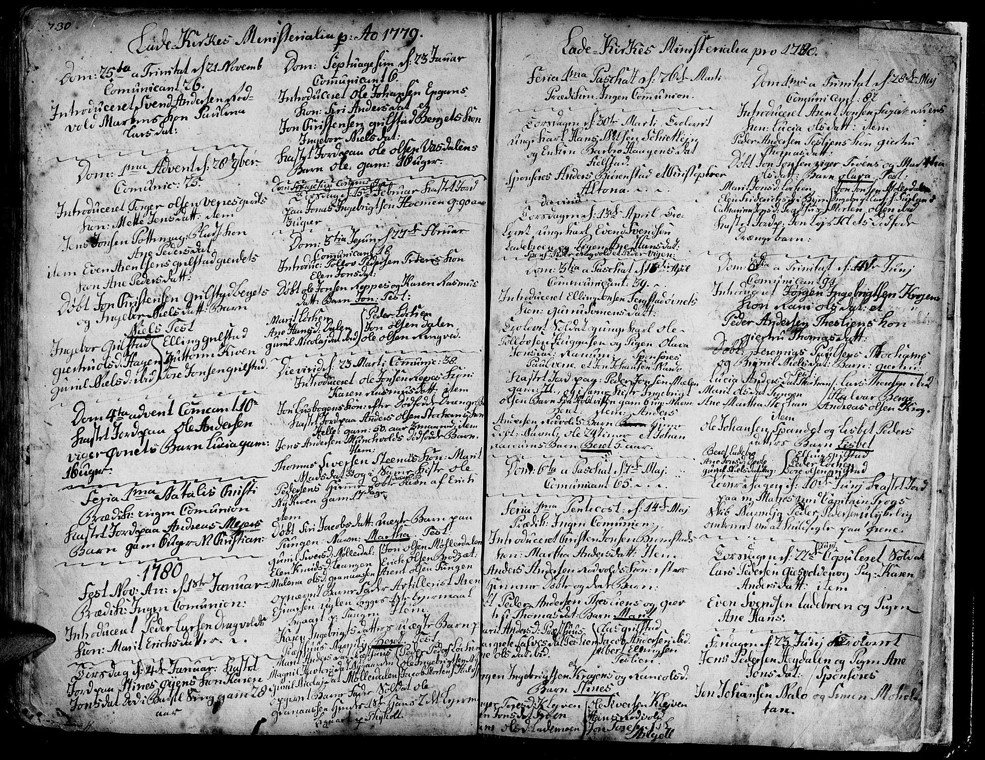 SAT, Ministerialprotokoller, klokkerbøker og fødselsregistre - Sør-Trøndelag, 606/L0275: Ministerialbok nr. 606A01 /1, 1727-1780, s. 730-731