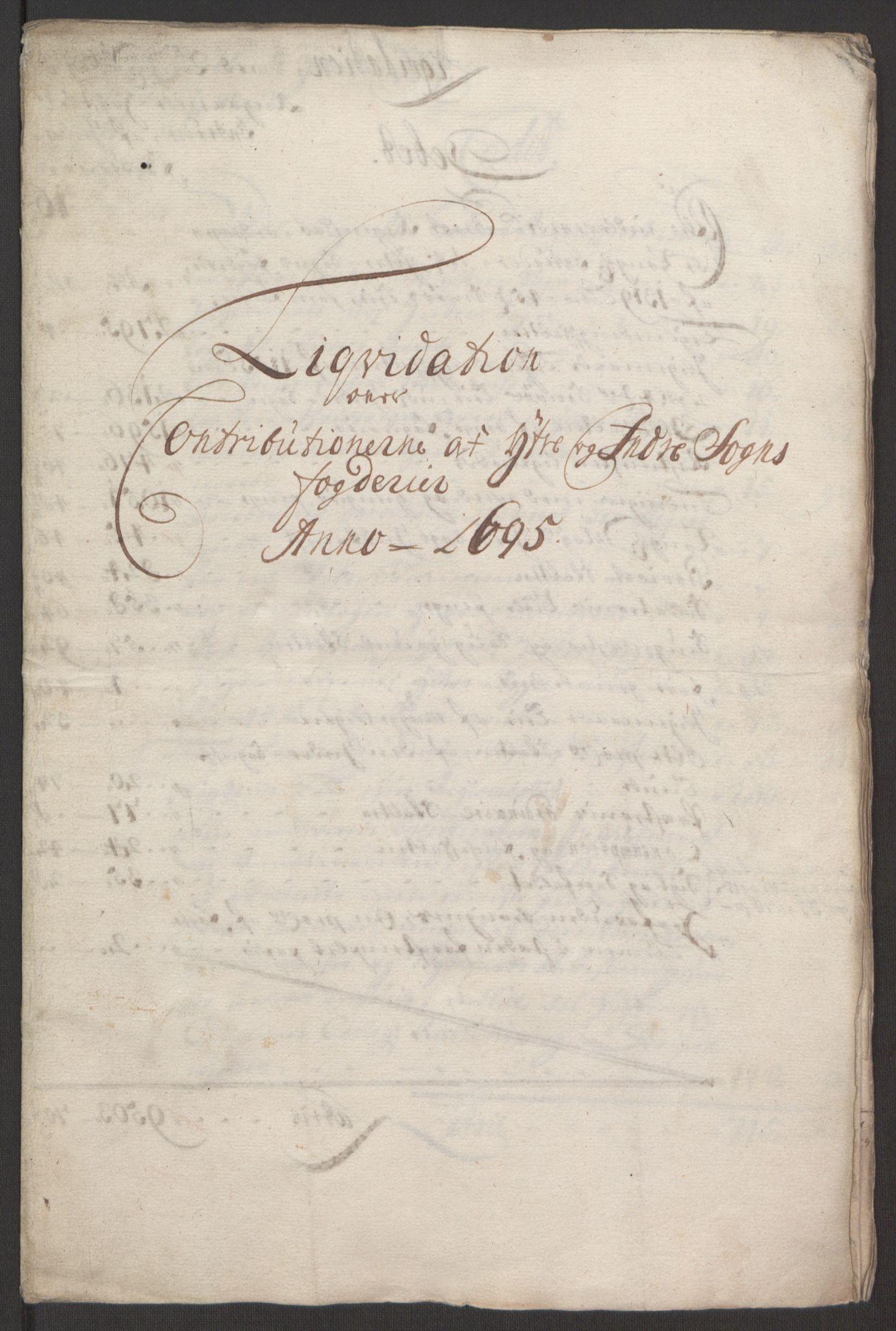 RA, Rentekammeret inntil 1814, Reviderte regnskaper, Fogderegnskap, R52/L3308: Fogderegnskap Sogn, 1695, s. 13