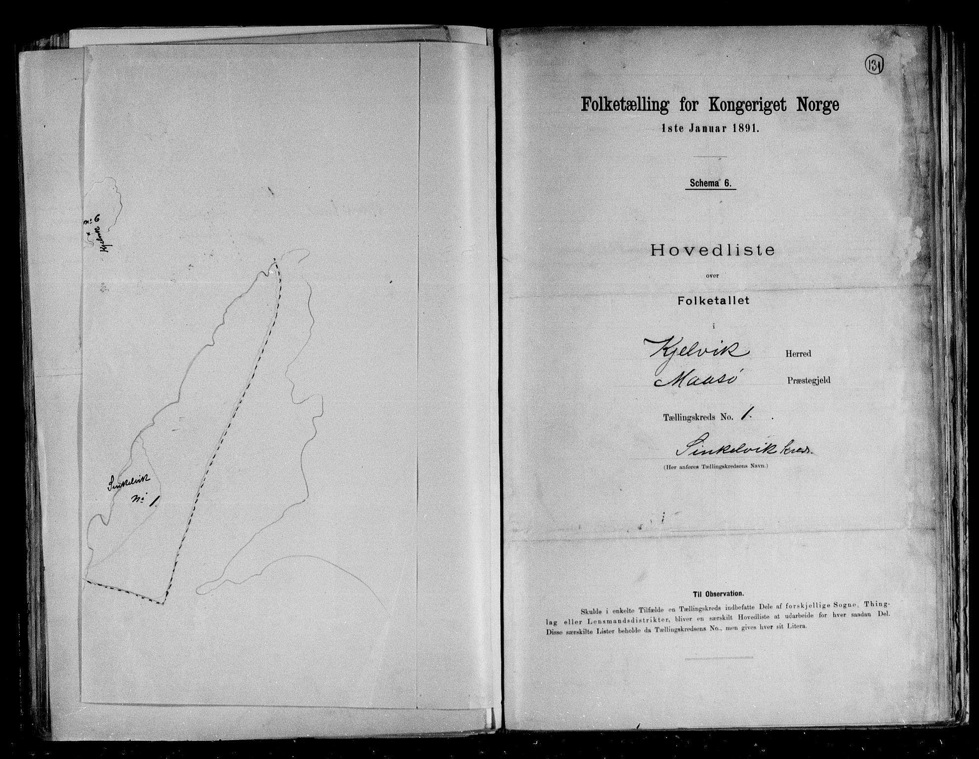 RA, Folketelling 1891 for 2019 Kjelvik herred, 1891, s. 7