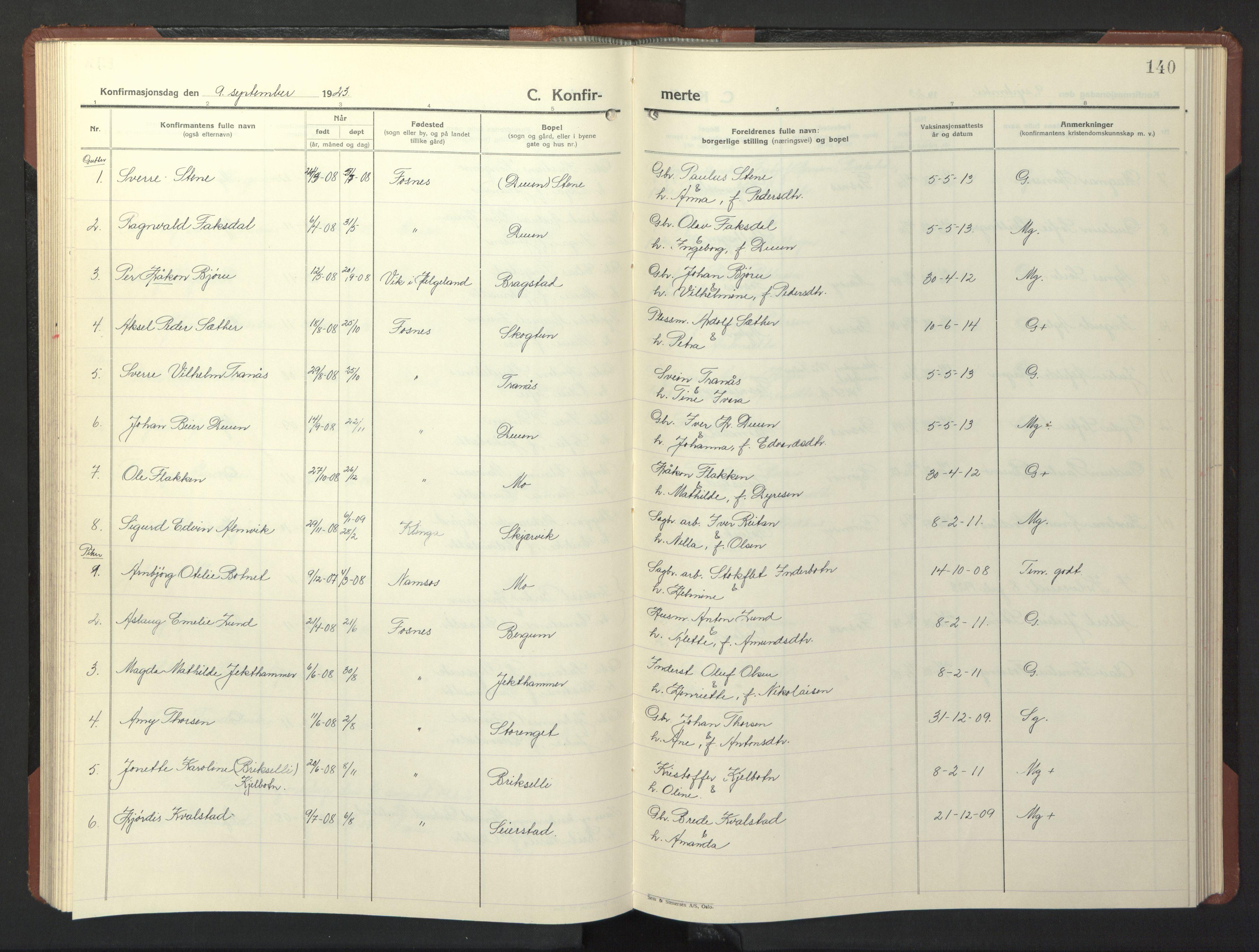SAT, Ministerialprotokoller, klokkerbøker og fødselsregistre - Nord-Trøndelag, 773/L0625: Klokkerbok nr. 773C01, 1910-1952, s. 140