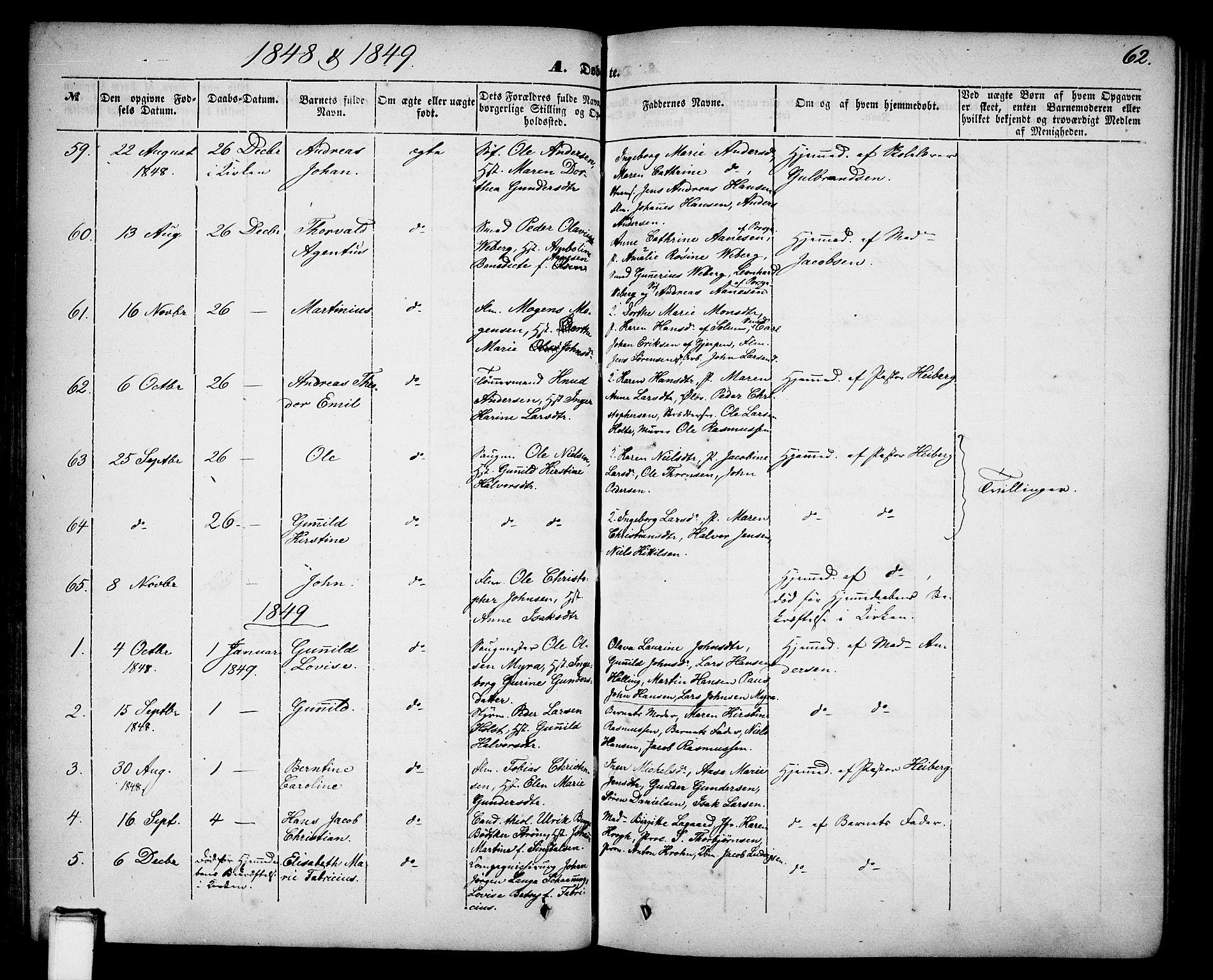 SAKO, Skien kirkebøker, G/Ga/L0004: Klokkerbok nr. 4, 1843-1867, s. 62