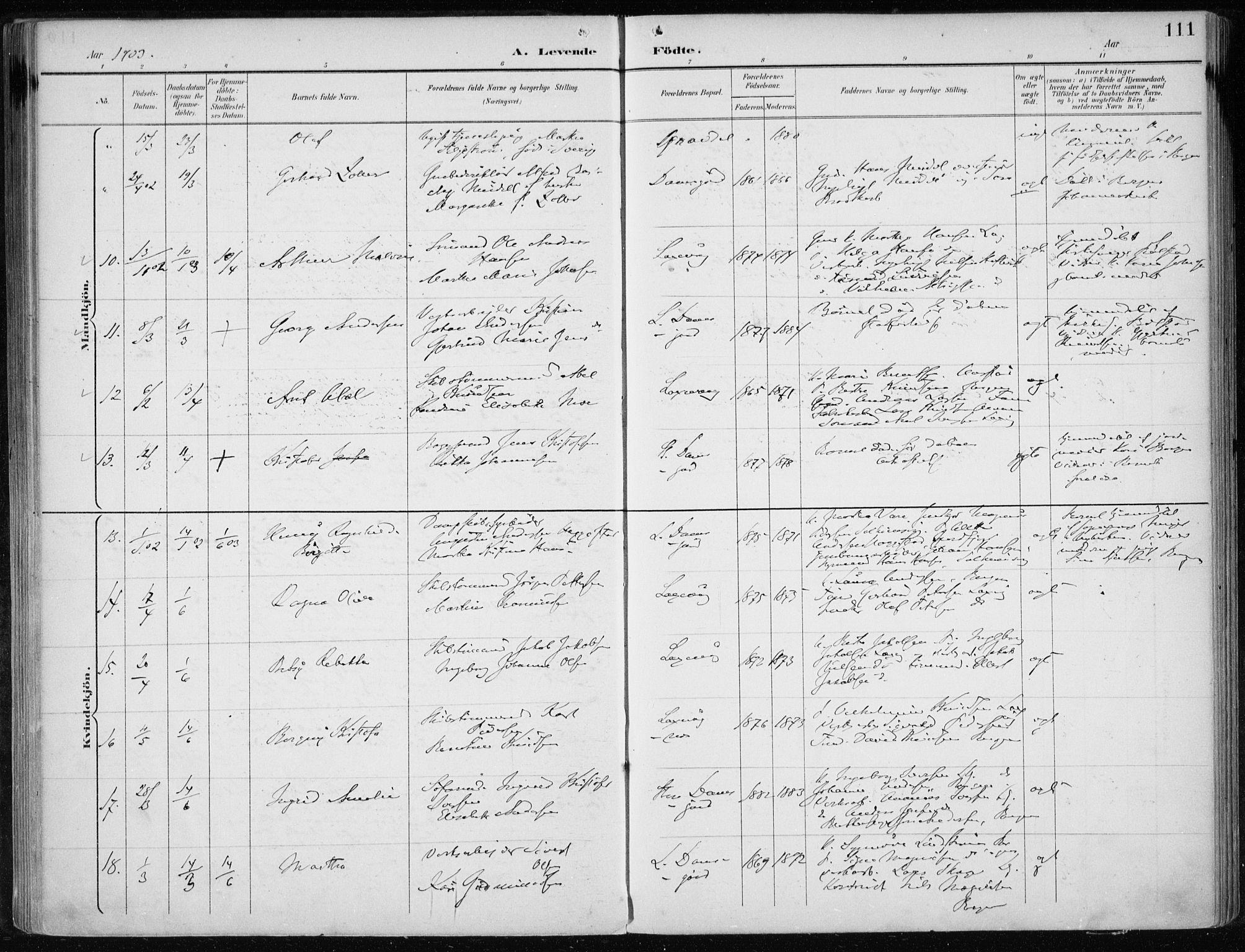 SAB, Laksevåg Sokneprestembete, H/Haa: Ministerialbok nr. A 3, 1891-1903, s. 111