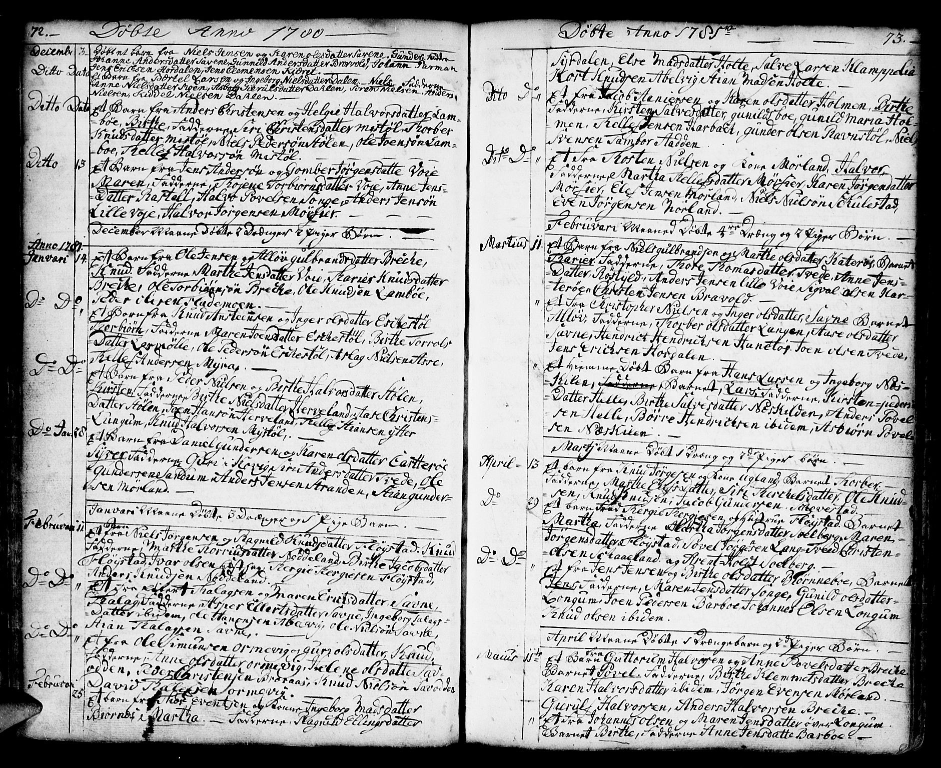 SAK, Austre Moland sokneprestkontor, F/Fa/Faa/L0002: Ministerialbok nr. A 2, 1747-1808, s. 72-73