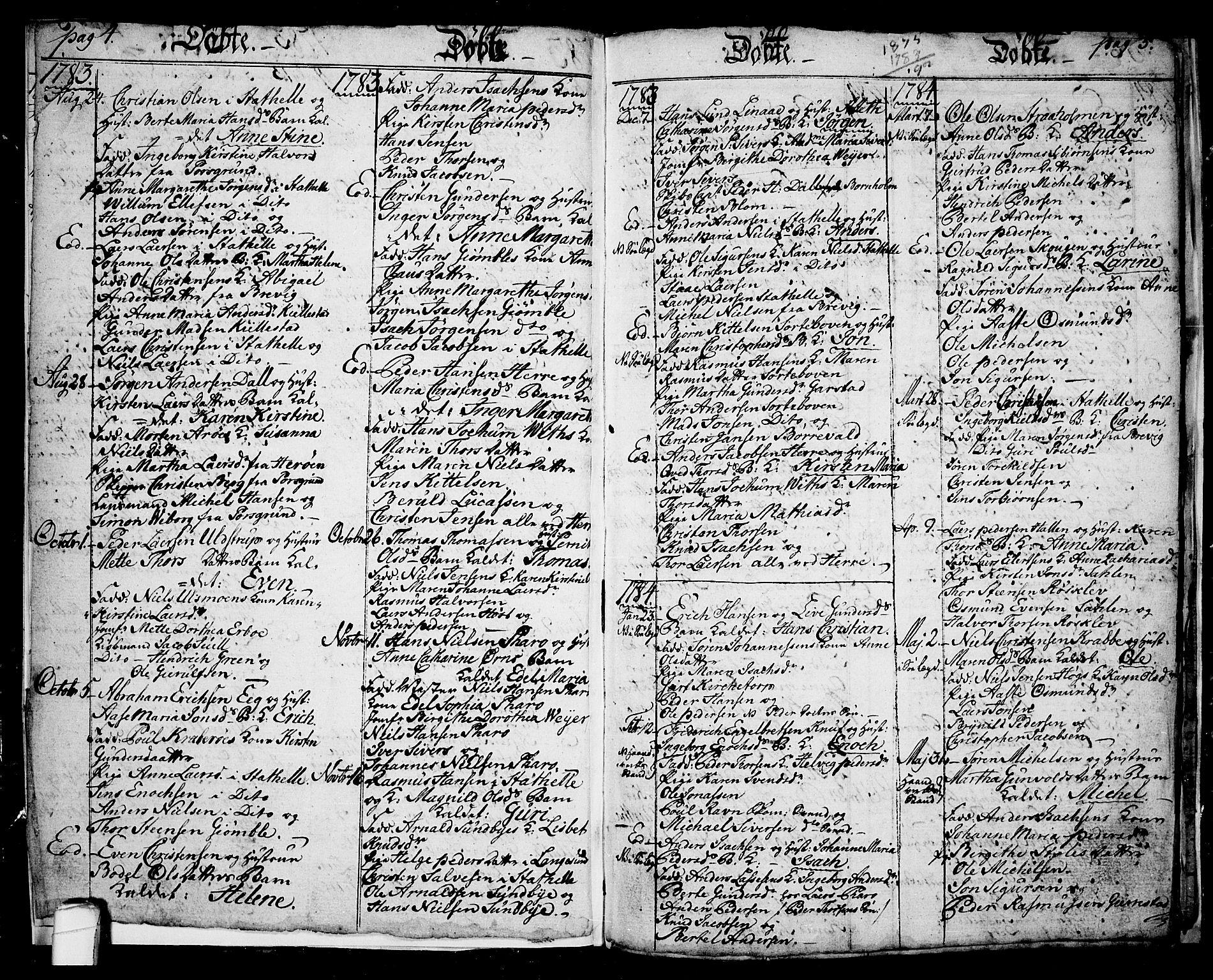SAKO, Langesund kirkebøker, G/Ga/L0001: Klokkerbok nr. 1, 1783-1801, s. 4-5