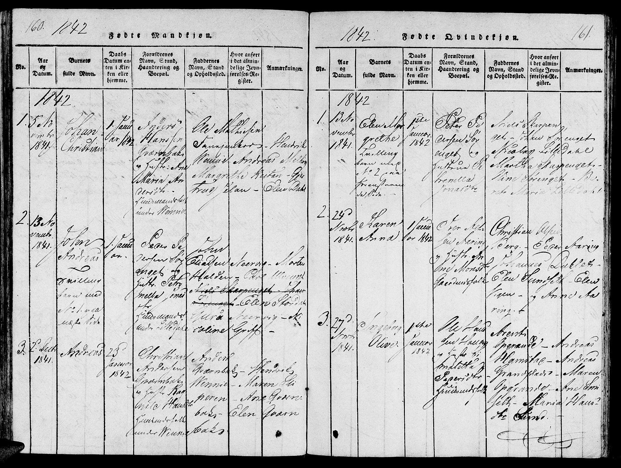 SAT, Ministerialprotokoller, klokkerbøker og fødselsregistre - Nord-Trøndelag, 733/L0322: Ministerialbok nr. 733A01, 1817-1842, s. 160-161