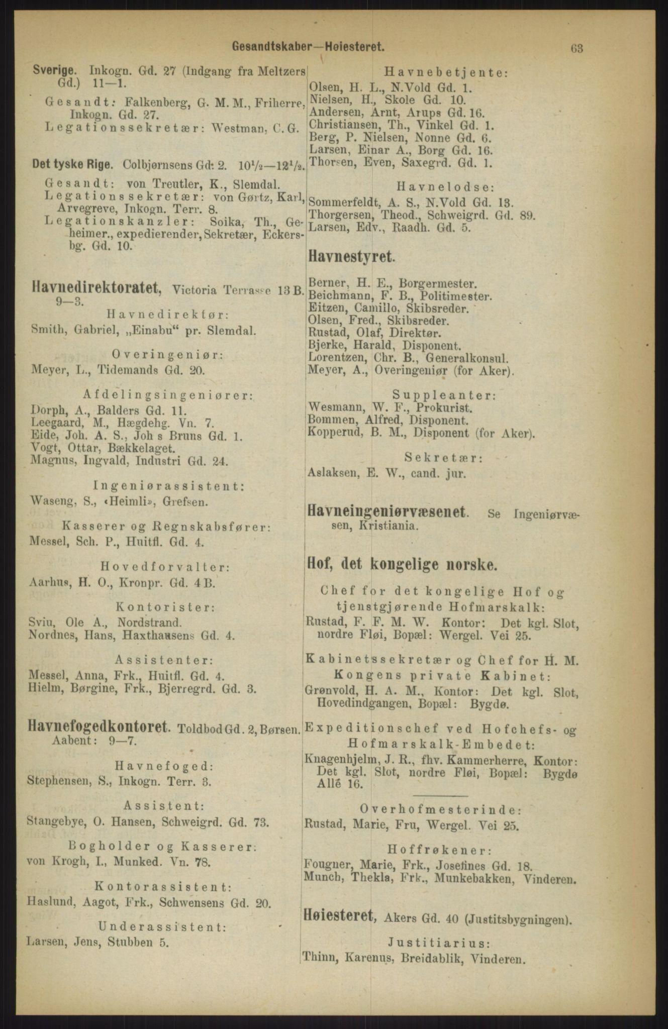 RA, Kristiania adressebok (publikasjon)*, 1911, s. 63