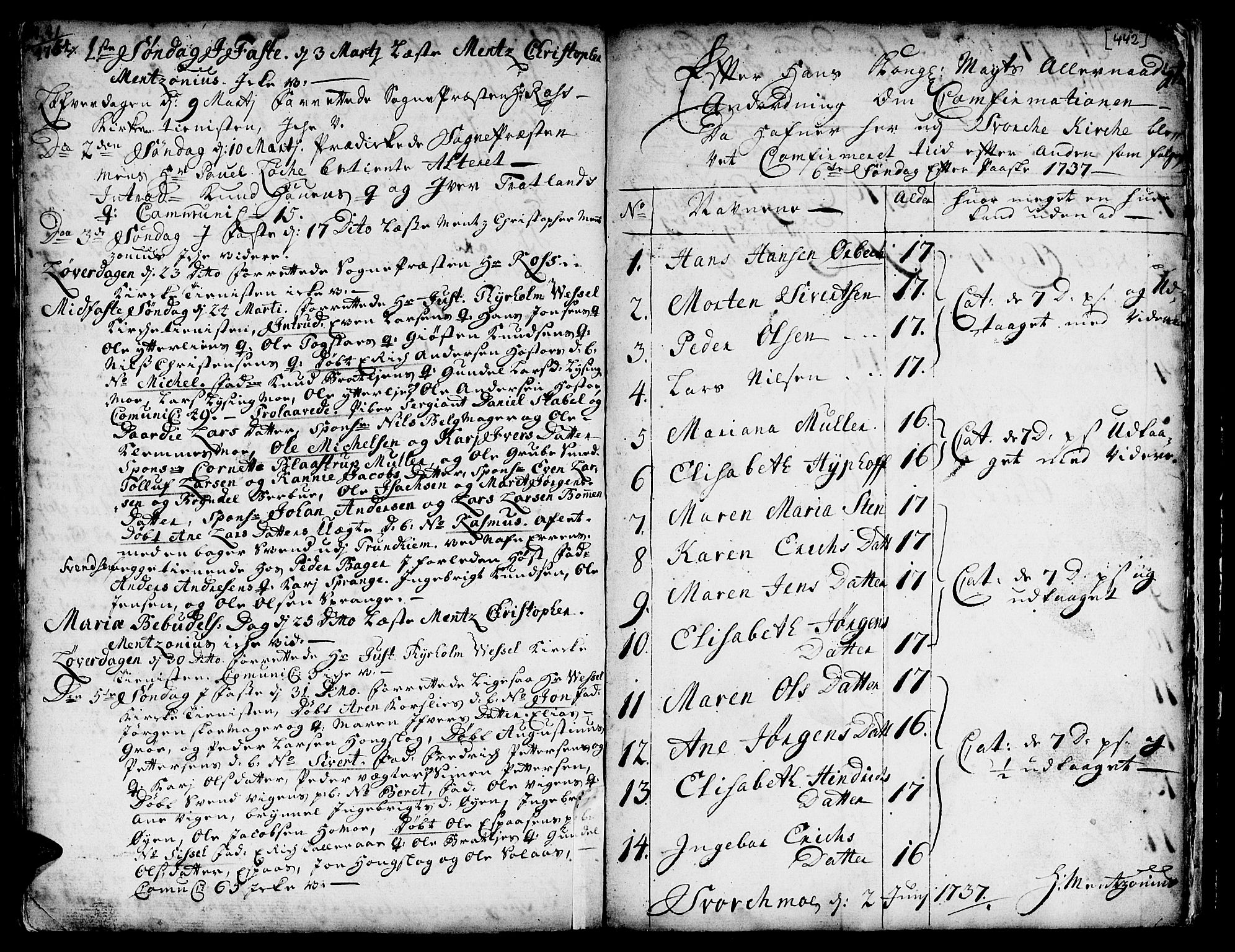 SAT, Ministerialprotokoller, klokkerbøker og fødselsregistre - Sør-Trøndelag, 671/L0839: Ministerialbok nr. 671A01, 1730-1755, s. 441-442