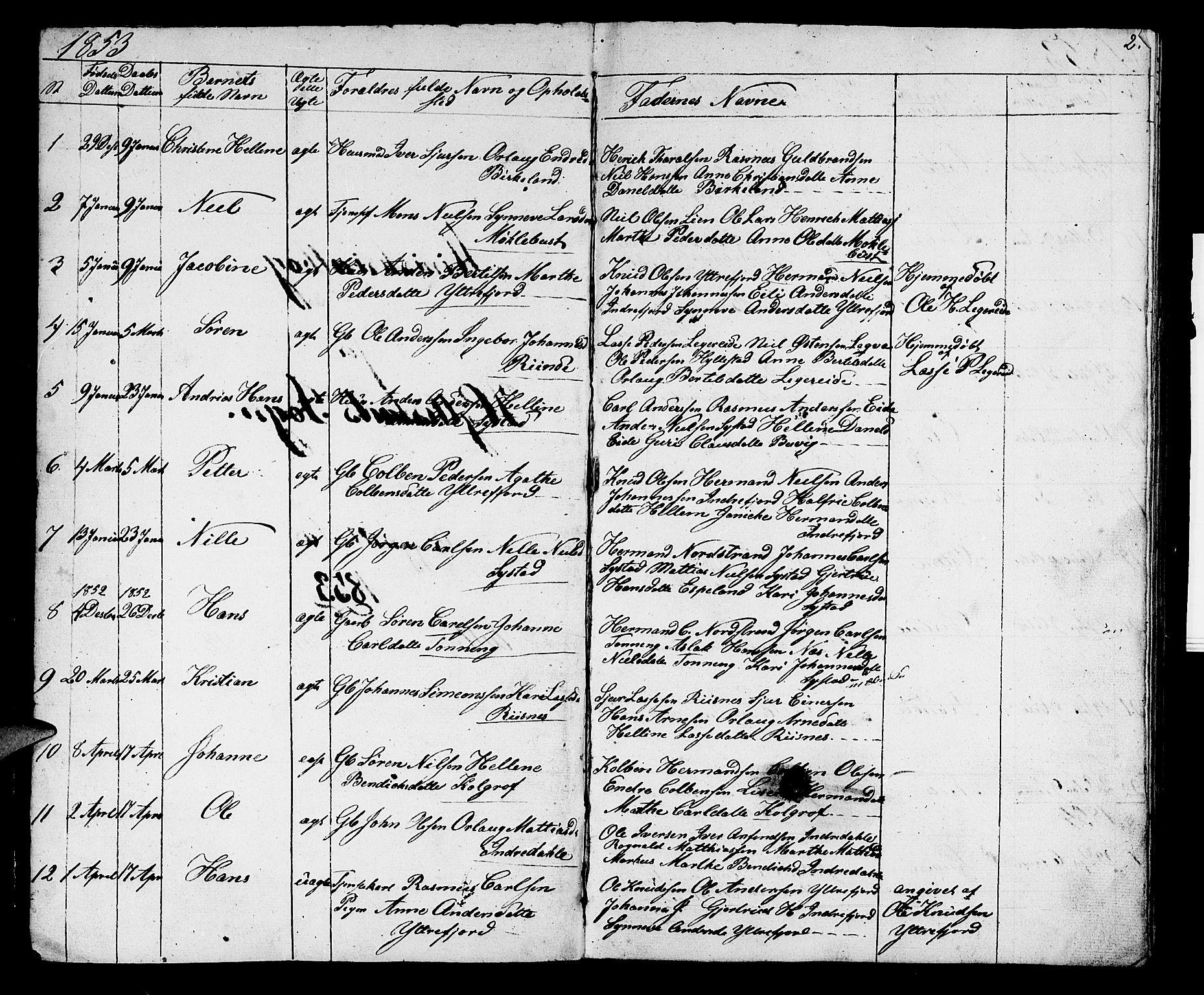 SAB, Hyllestad Sokneprestembete, Klokkerbok nr. A 1, 1853-1875, s. 2