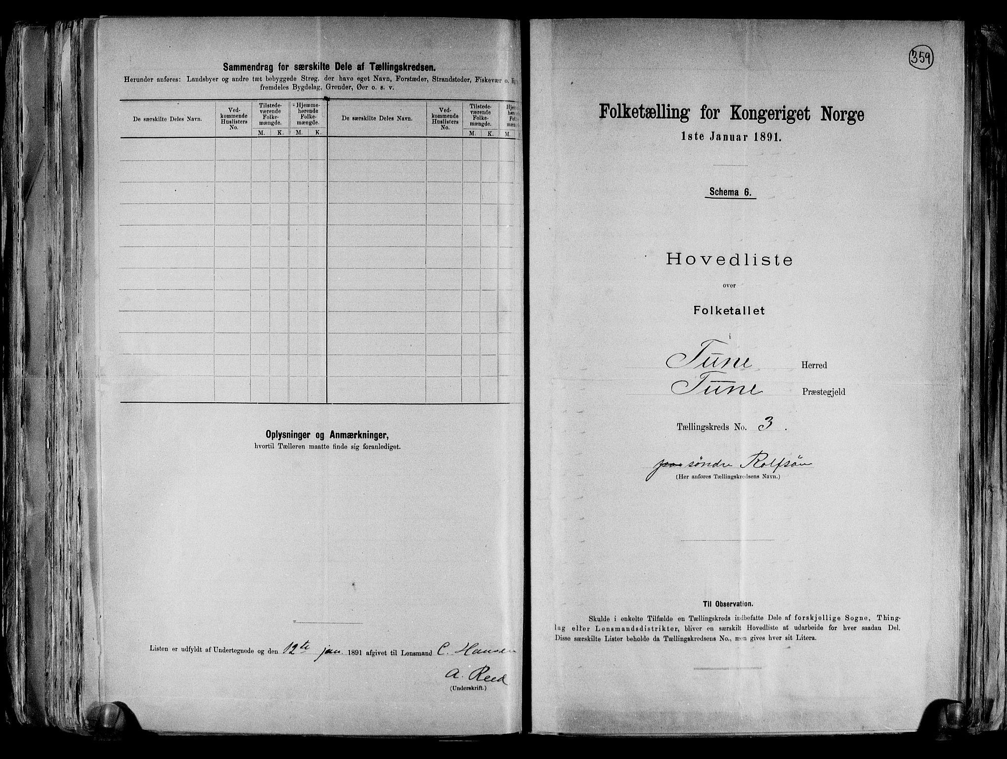 RA, Folketelling 1891 for 0130 Tune herred, 1891, s. 17