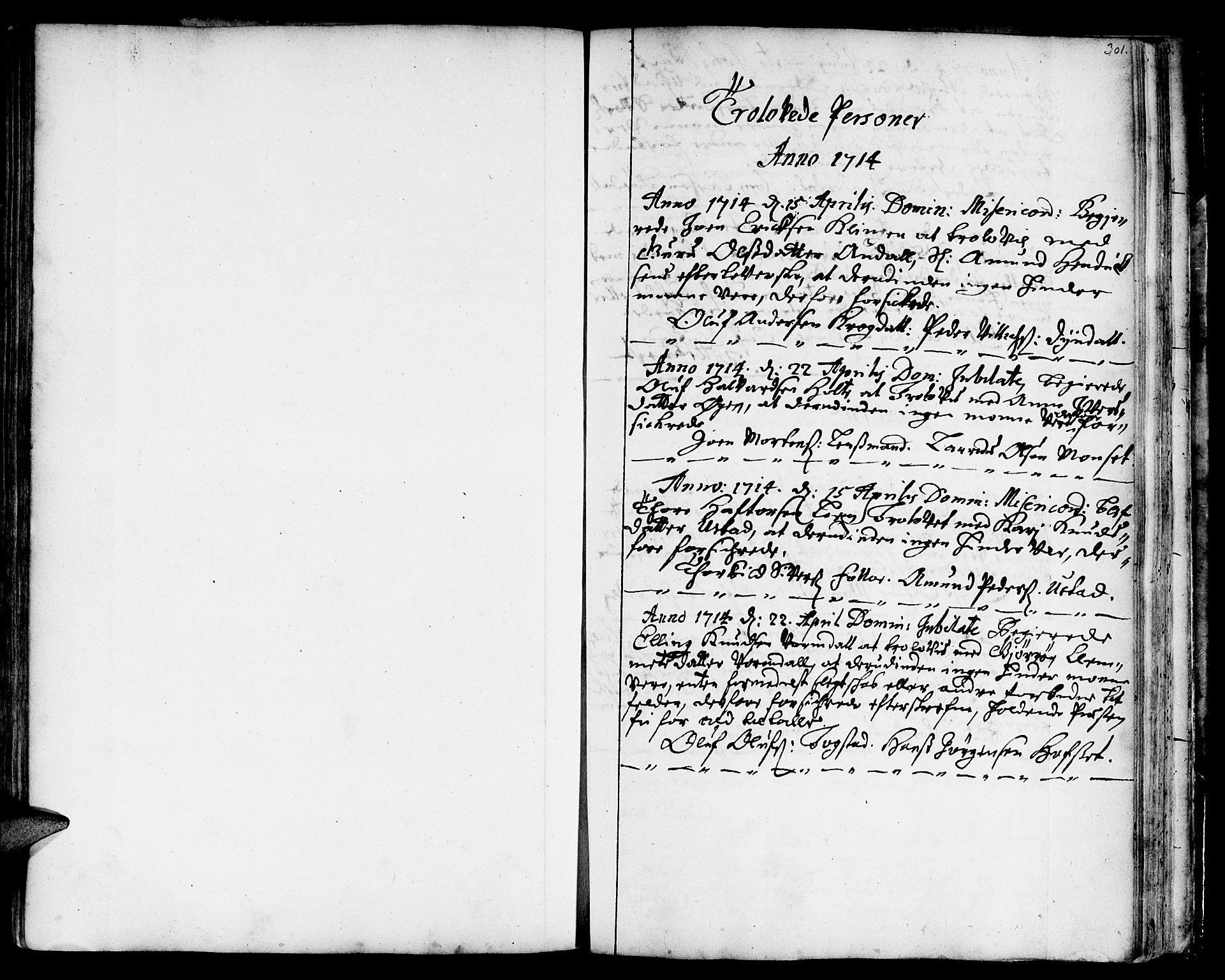 SAT, Ministerialprotokoller, klokkerbøker og fødselsregistre - Sør-Trøndelag, 668/L0801: Ministerialbok nr. 668A01, 1695-1716, s. 300-301