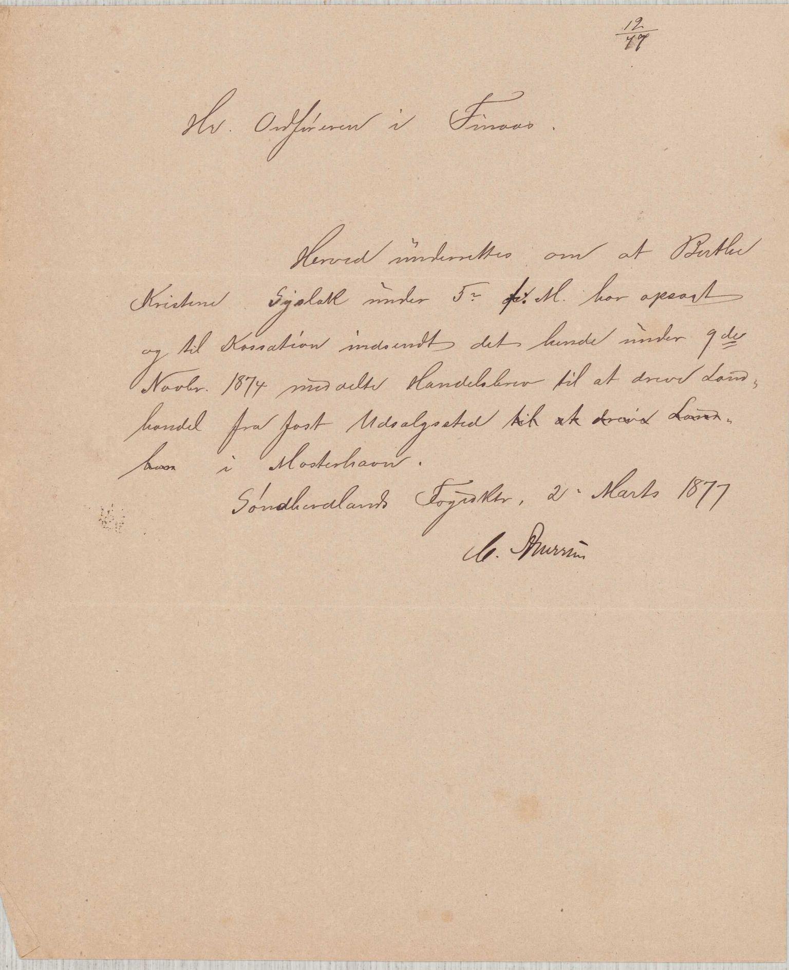 IKAH, Finnaas kommune. Formannskapet, D/Da/L0001: Korrespondanse / saker, 1876-1879, s. 1