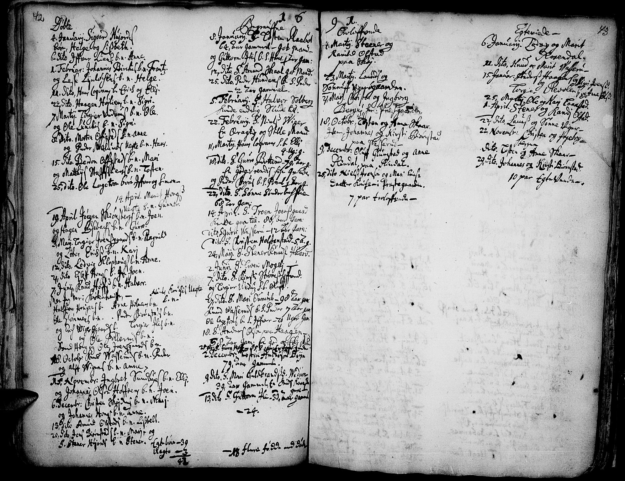 SAH, Øyer prestekontor, Ministerialbok nr. 1, 1671-1727, s. 42-43