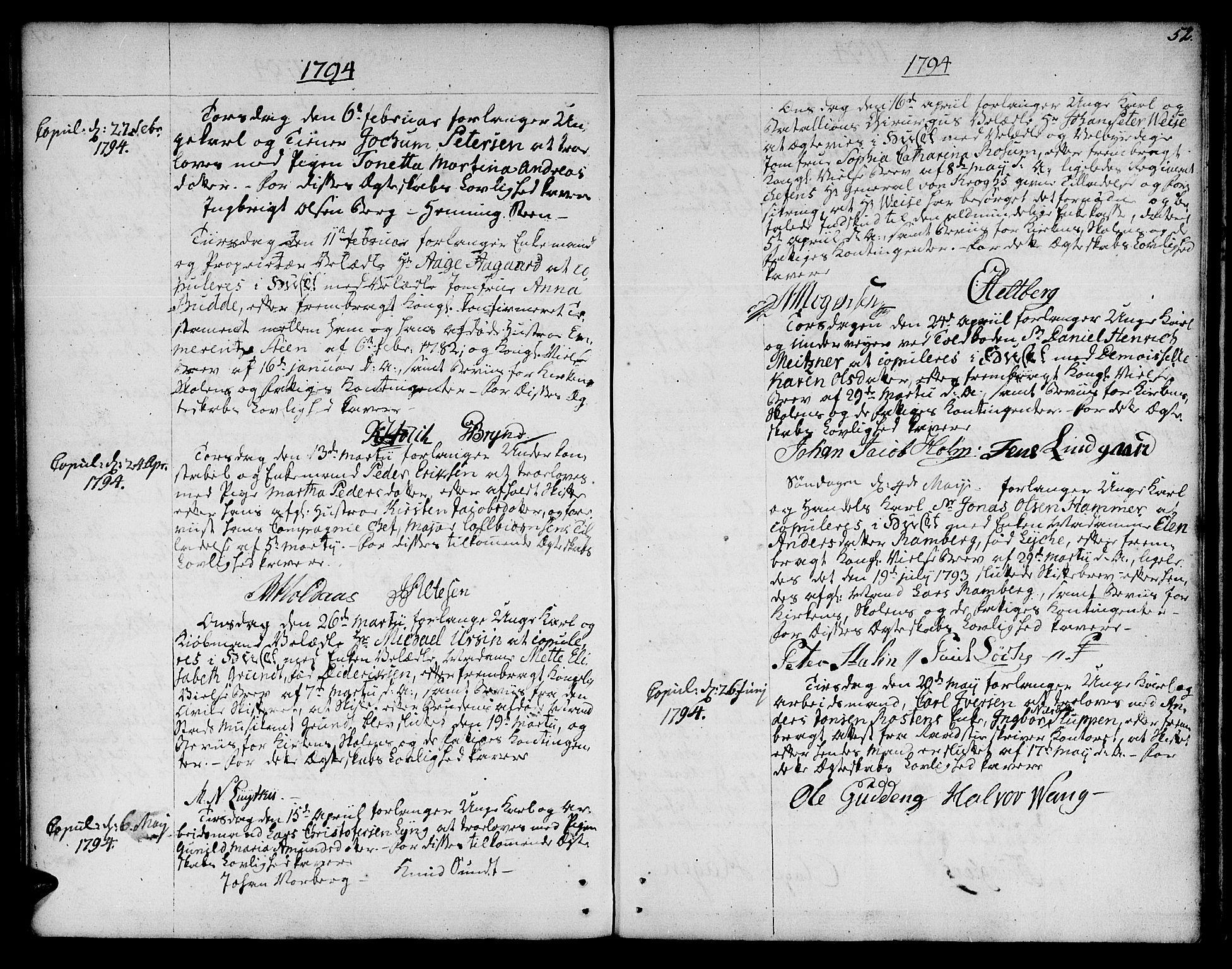 SAT, Ministerialprotokoller, klokkerbøker og fødselsregistre - Sør-Trøndelag, 601/L0041: Ministerialbok nr. 601A09, 1784-1801, s. 52