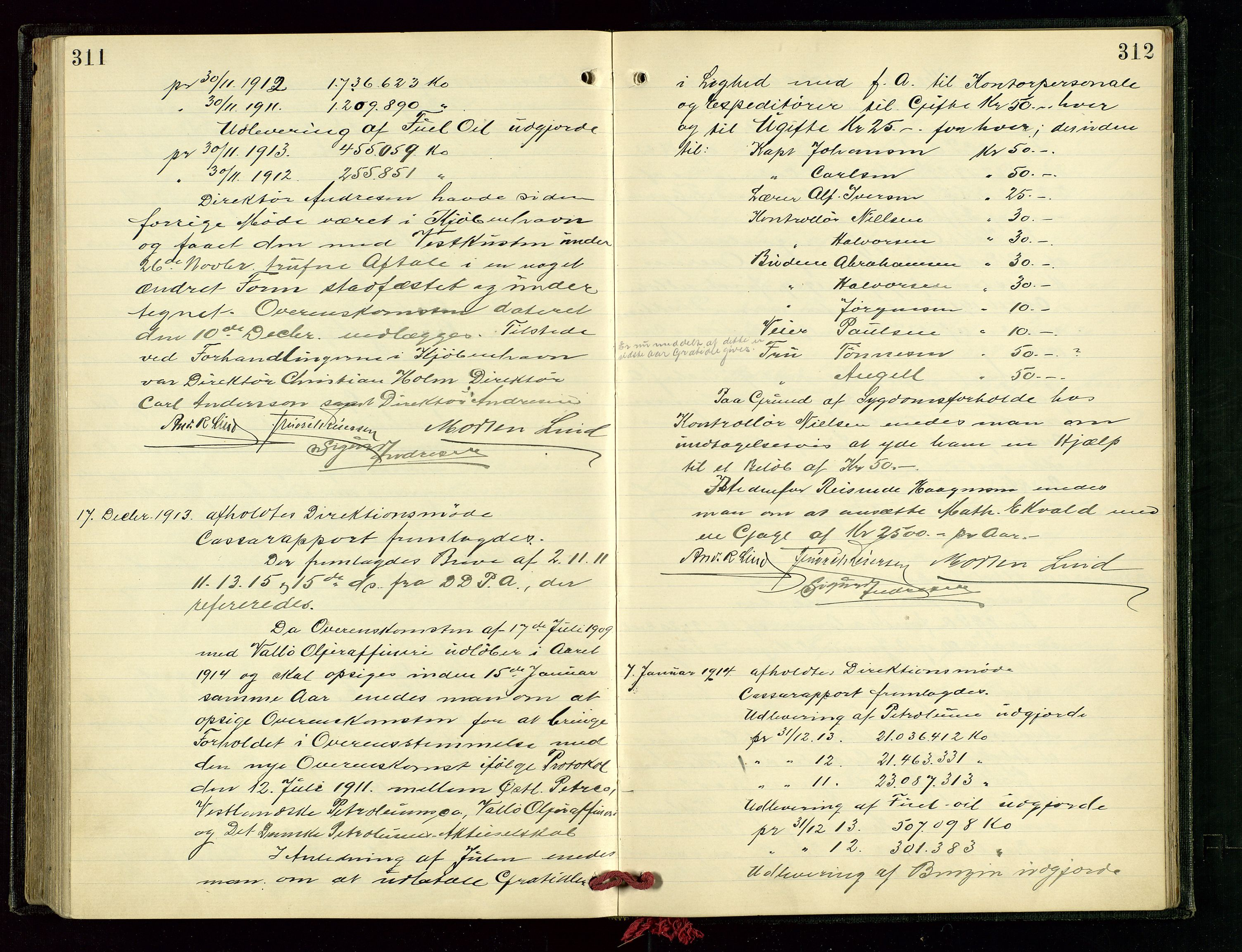 SAST, PA 1534 - Østlandske Petroleumscompagni A/S, A/Aa/L0003: Direksjonsprotokoller, 1905-1915, s. 311-312