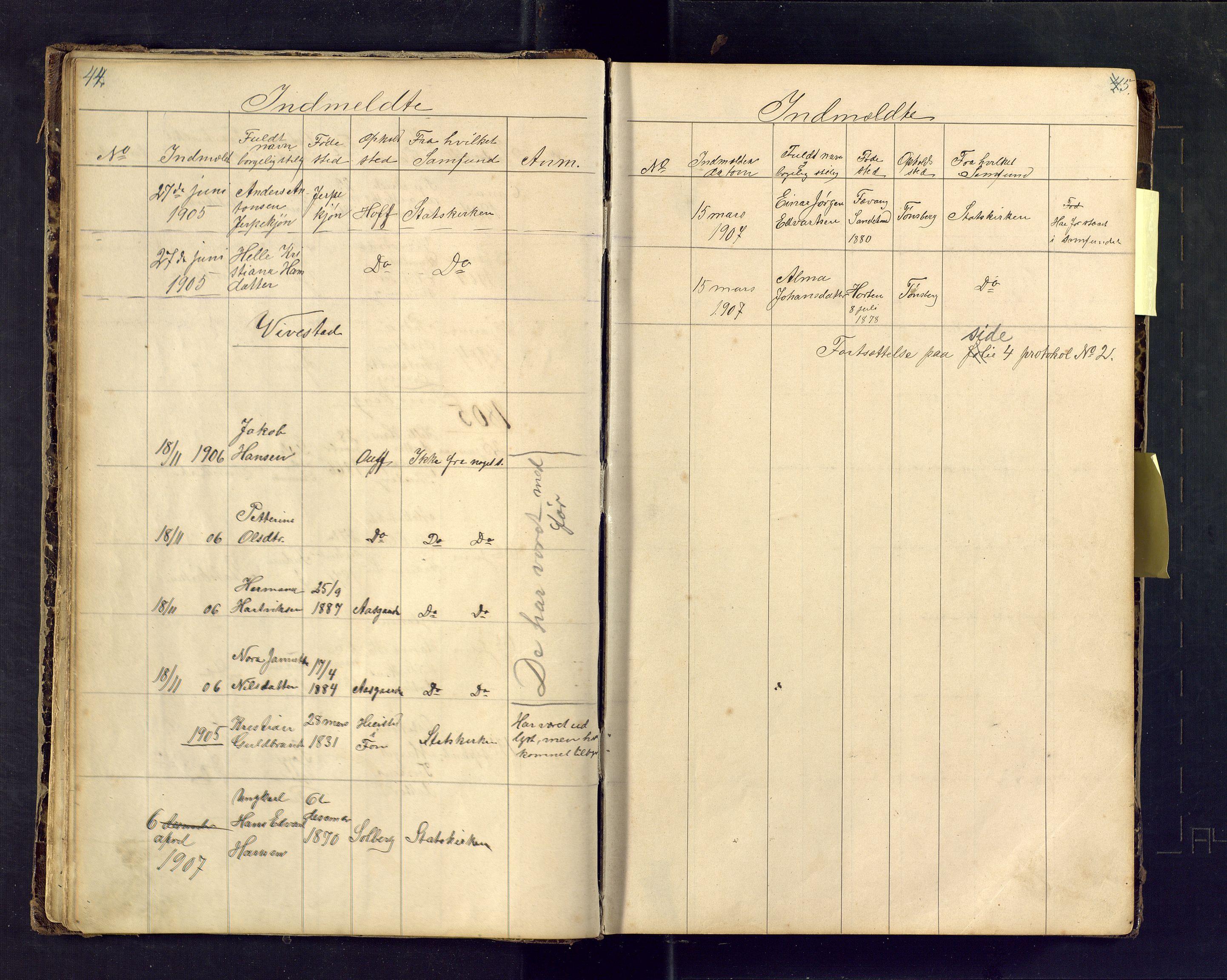 SAKO, Den evangelisk lutherske frimenighet i Jarlsbergs grevskap med flere steder, F/Fa/L0001: Dissenterprotokoll nr. Fa/L0001, 1872-1925, s. 44-45