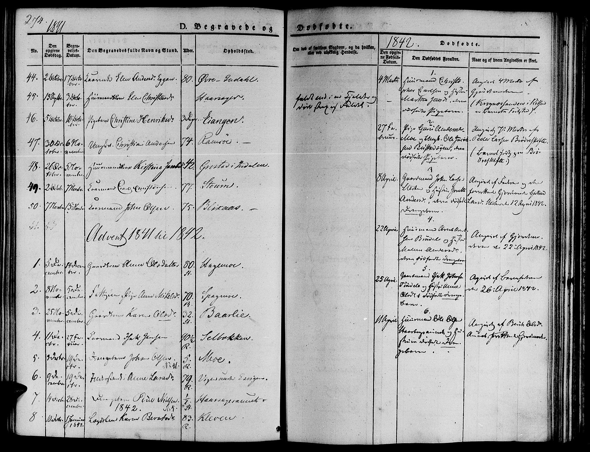 SAT, Ministerialprotokoller, klokkerbøker og fødselsregistre - Sør-Trøndelag, 646/L0610: Ministerialbok nr. 646A08, 1837-1847, s. 274