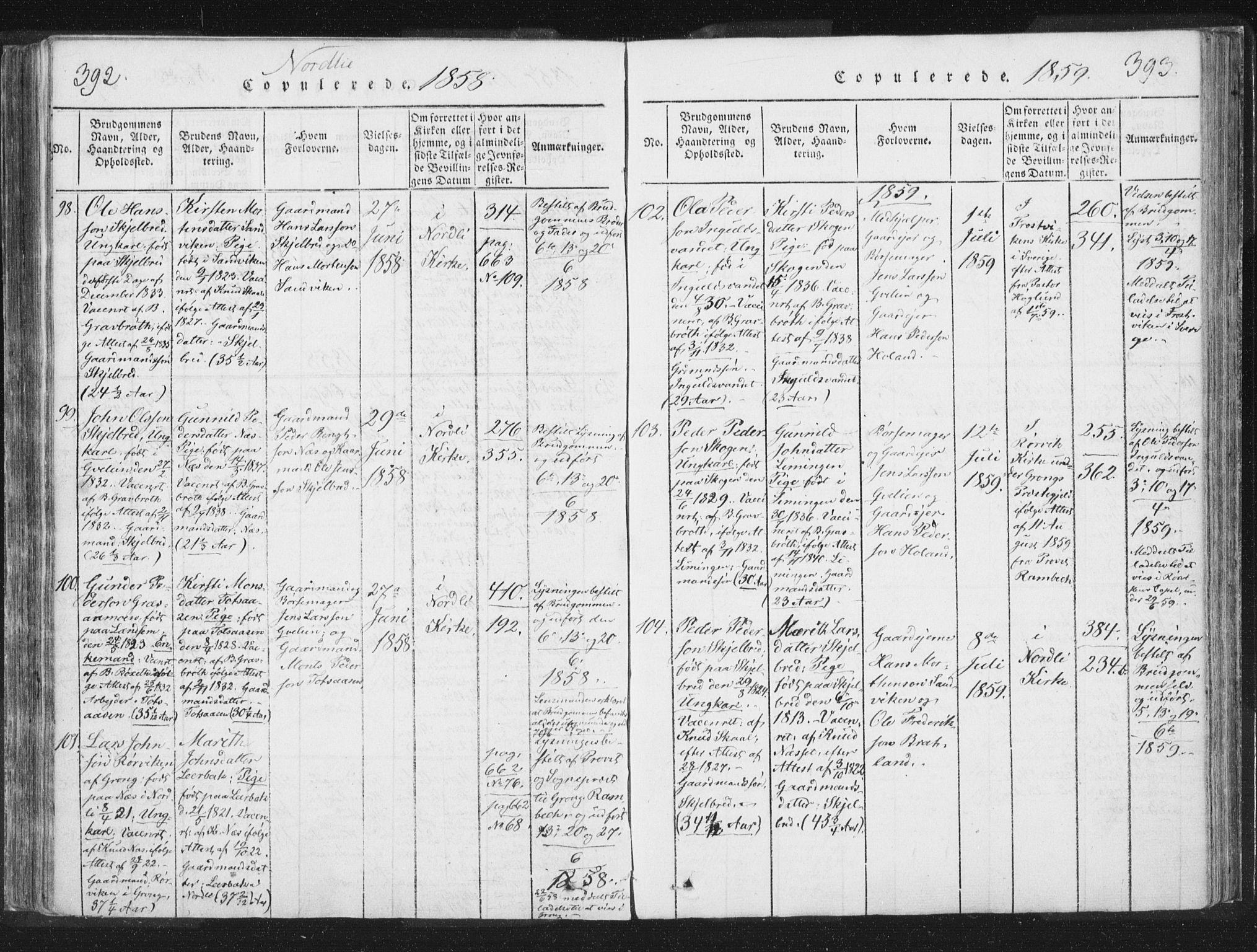 SAT, Ministerialprotokoller, klokkerbøker og fødselsregistre - Nord-Trøndelag, 755/L0491: Ministerialbok nr. 755A01 /1, 1817-1864, s. 392-393