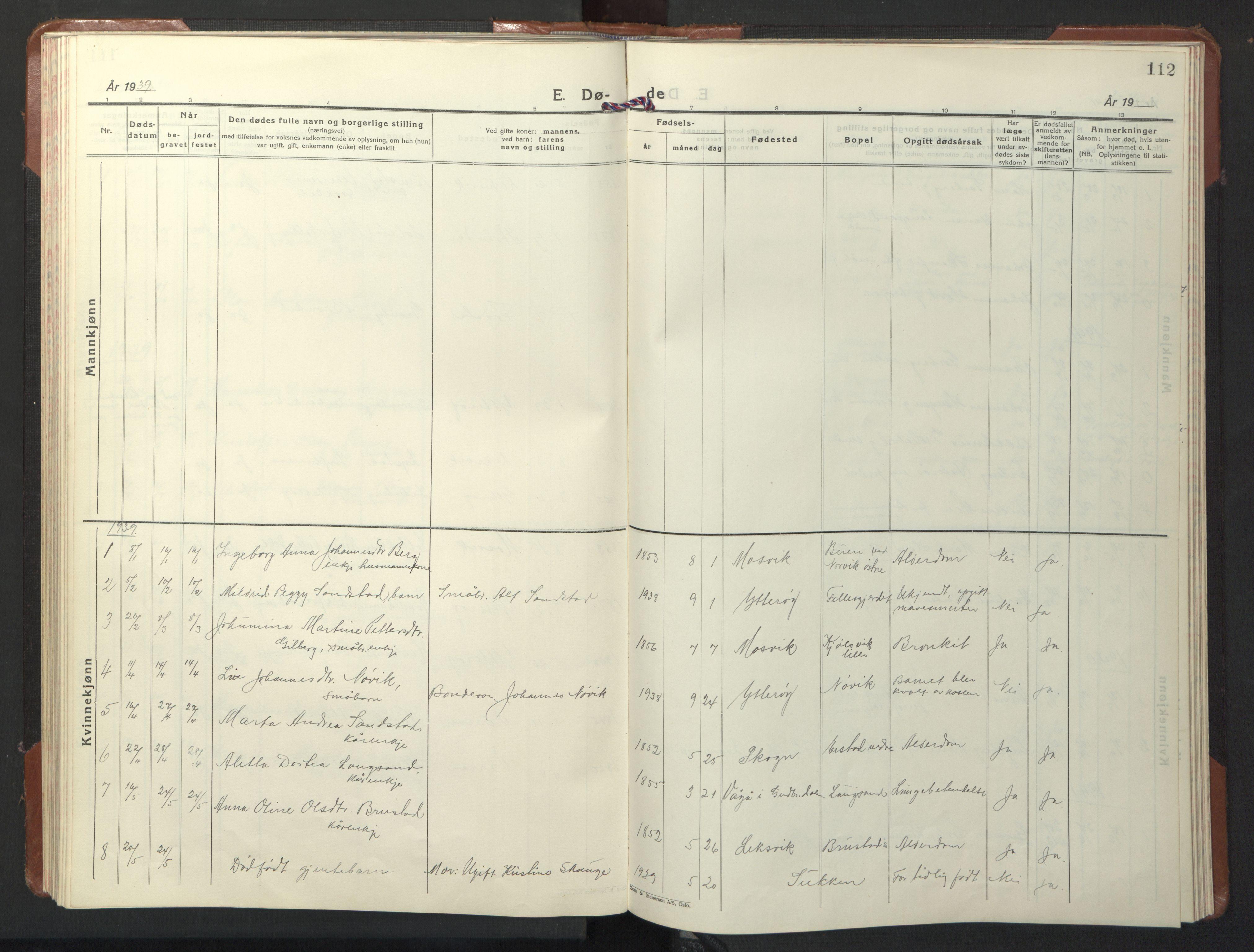 SAT, Ministerialprotokoller, klokkerbøker og fødselsregistre - Nord-Trøndelag, 722/L0227: Klokkerbok nr. 722C03, 1928-1958, s. 112