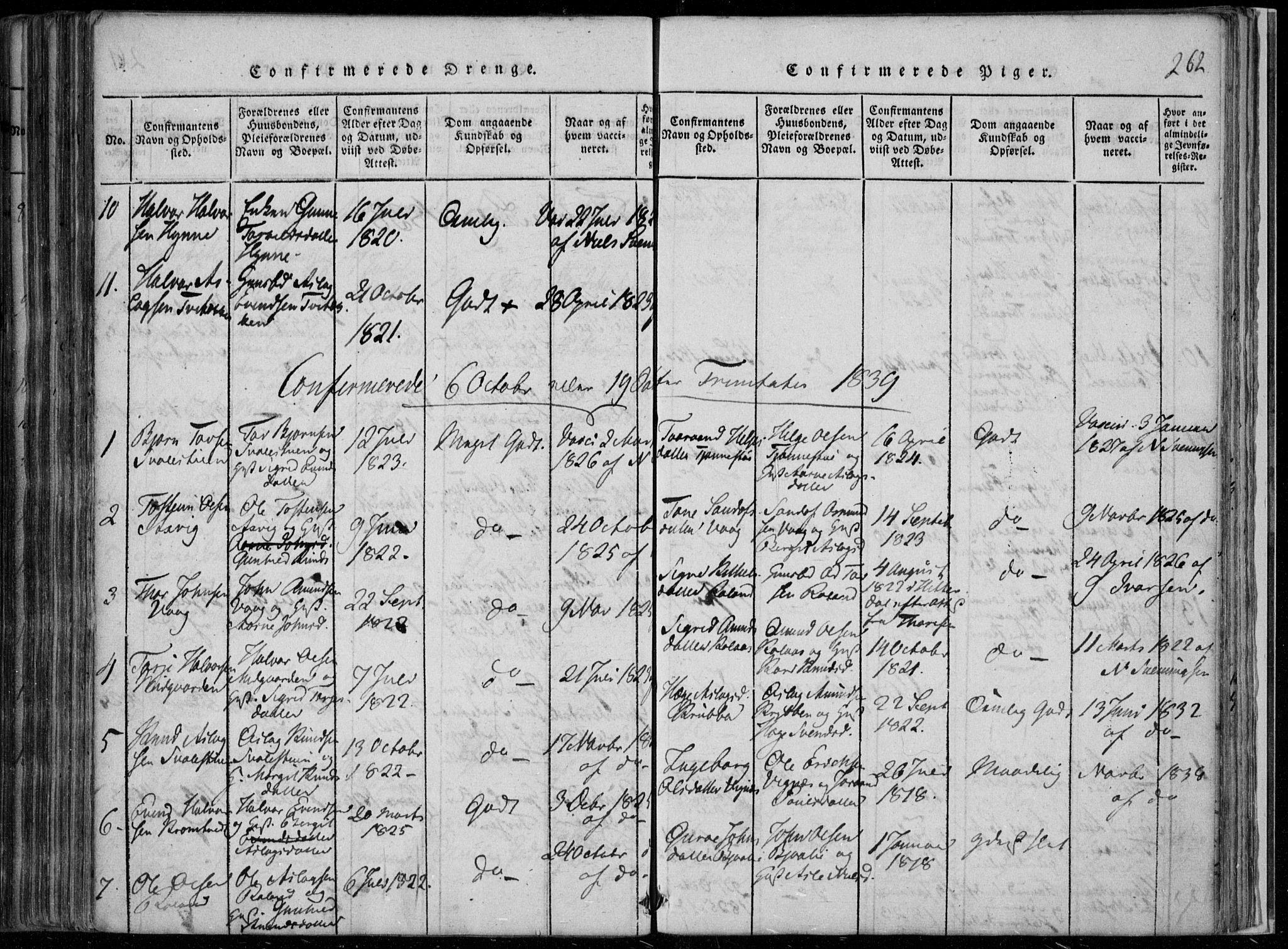 SAKO, Rauland kirkebøker, F/Fa/L0001: Ministerialbok nr. 1, 1814-1859, s. 262