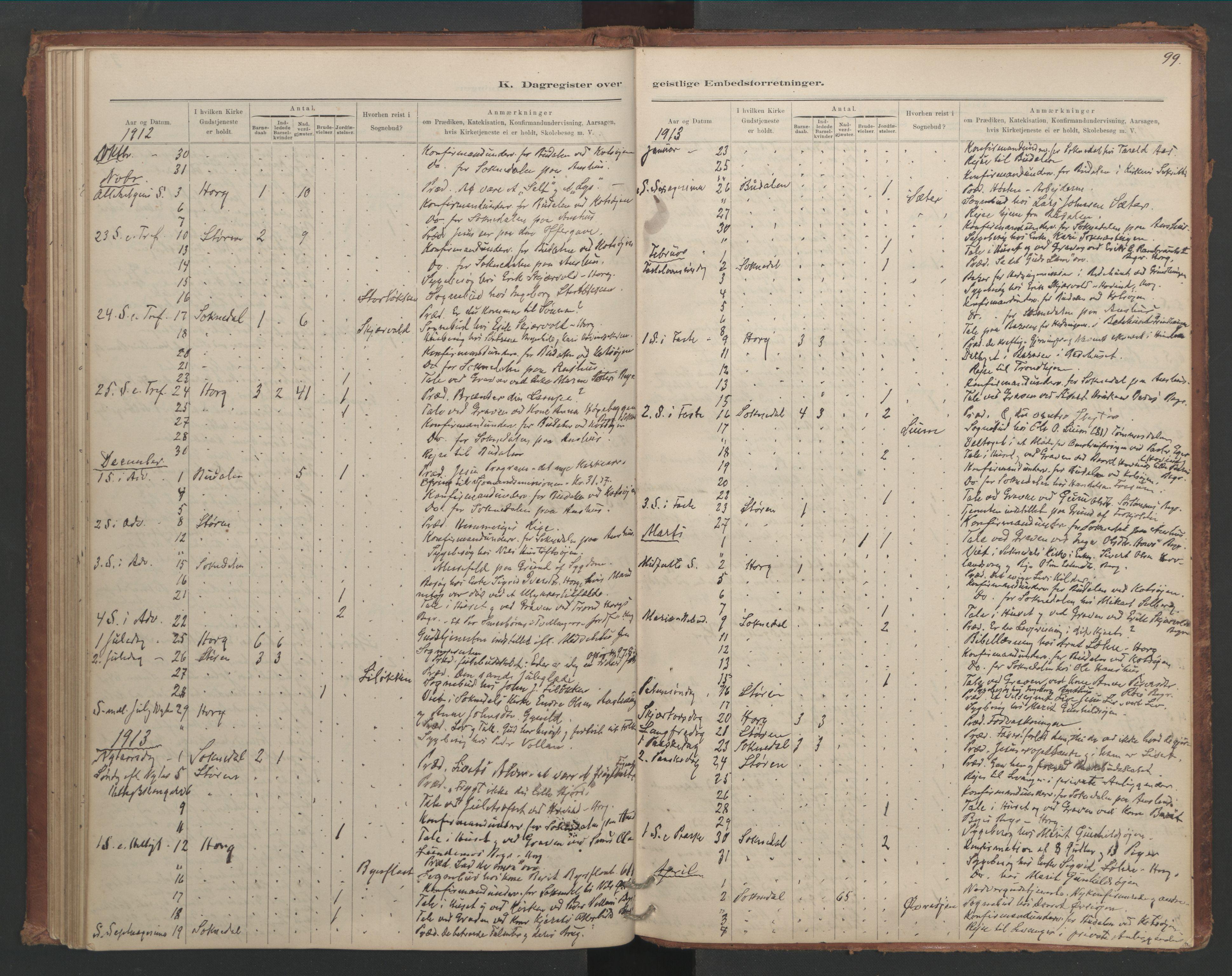 SAT, Ministerialprotokoller, klokkerbøker og fødselsregistre - Sør-Trøndelag, 687/L1012: Dagregister nr. 687B01, 1887-1914, s. 99