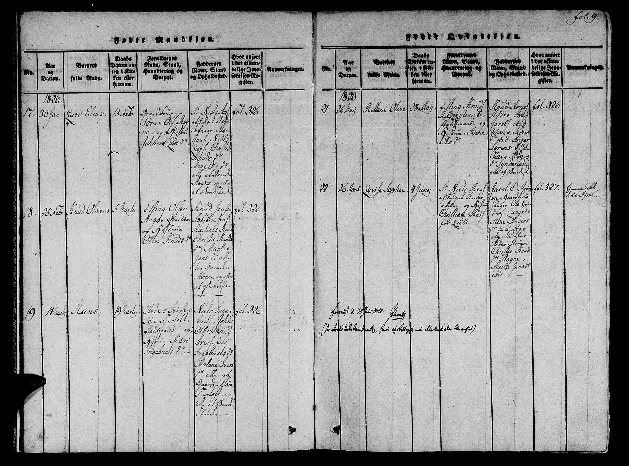 SAT, Ministerialprotokoller, klokkerbøker og fødselsregistre - Møre og Romsdal, 536/L0495: Ministerialbok nr. 536A04, 1818-1847, s. 9