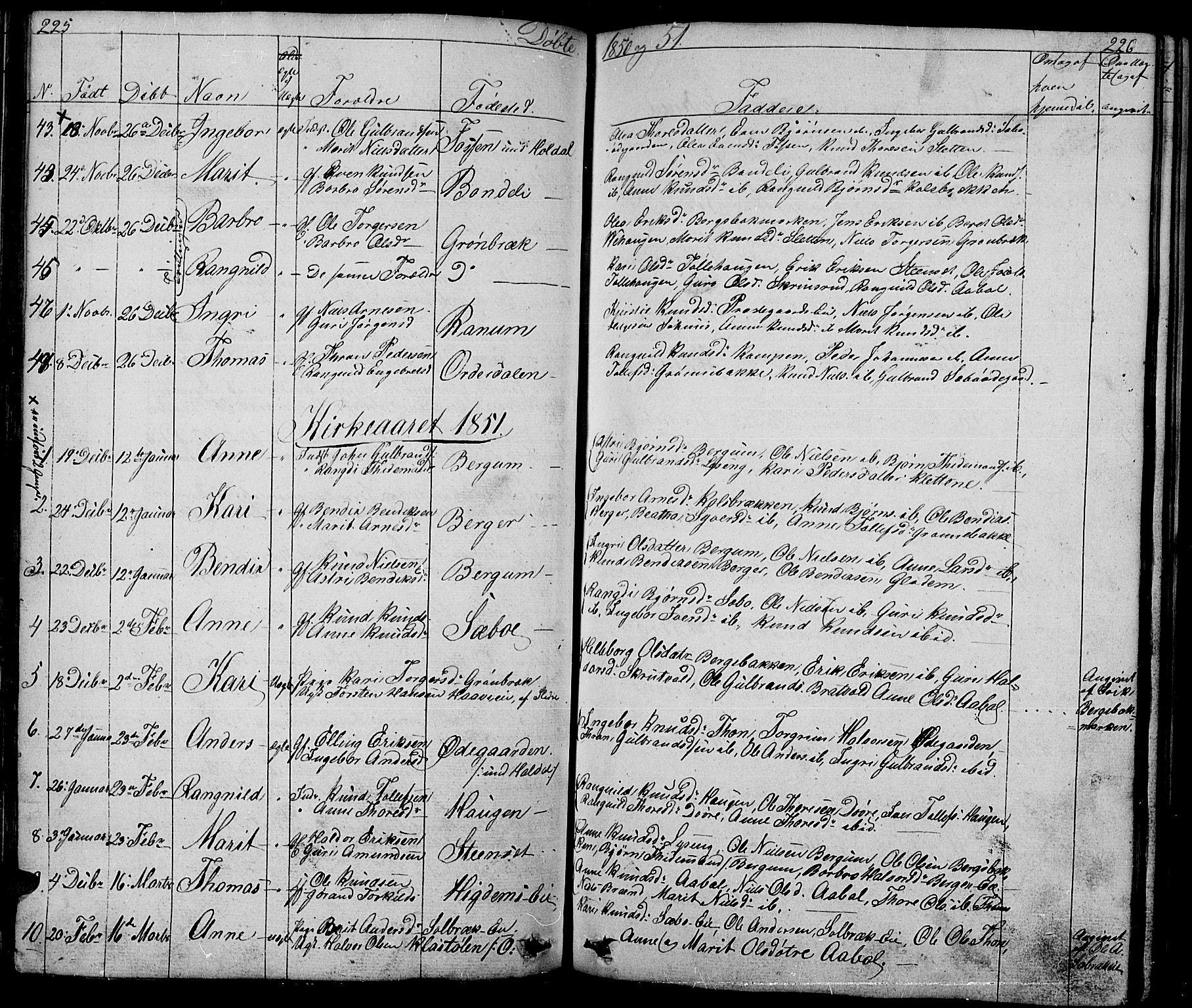 SAH, Nord-Aurdal prestekontor, Klokkerbok nr. 1, 1834-1887, s. 225-226