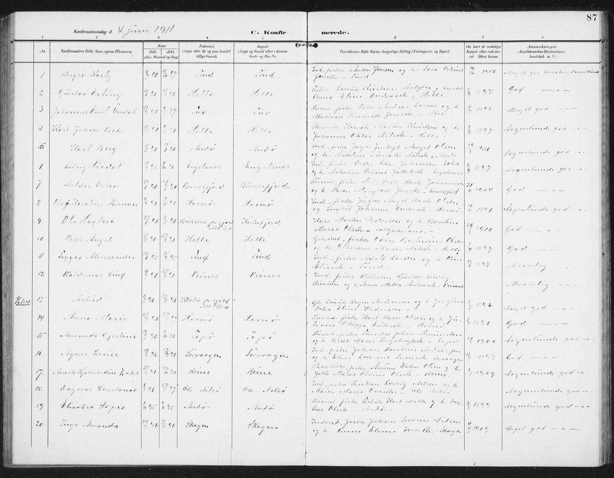 SAT, Ministerialprotokoller, klokkerbøker og fødselsregistre - Nordland, 886/L1221: Ministerialbok nr. 886A03, 1903-1913, s. 87