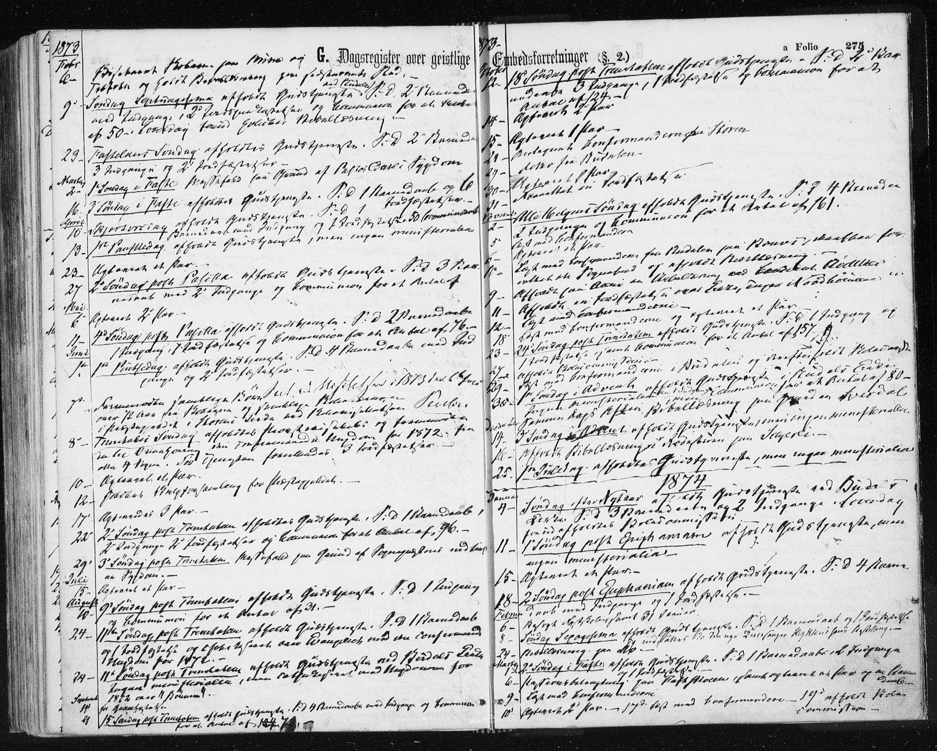 SAT, Ministerialprotokoller, klokkerbøker og fødselsregistre - Sør-Trøndelag, 687/L1001: Ministerialbok nr. 687A07, 1863-1878, s. 275