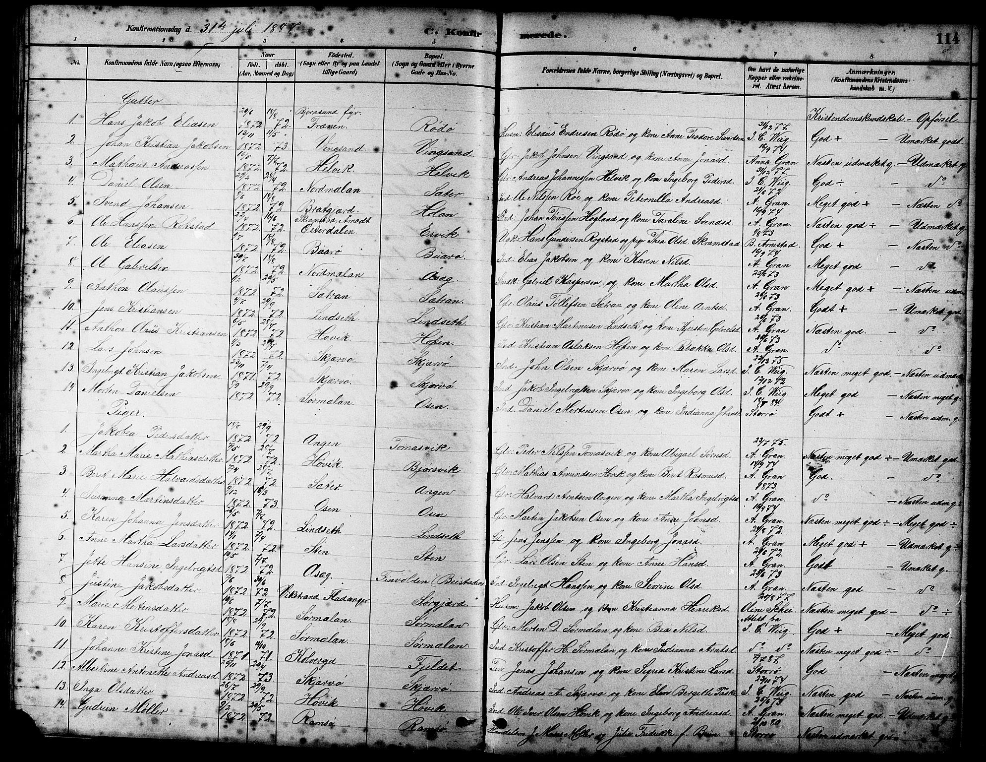 SAT, Ministerialprotokoller, klokkerbøker og fødselsregistre - Sør-Trøndelag, 658/L0726: Klokkerbok nr. 658C02, 1883-1908, s. 114