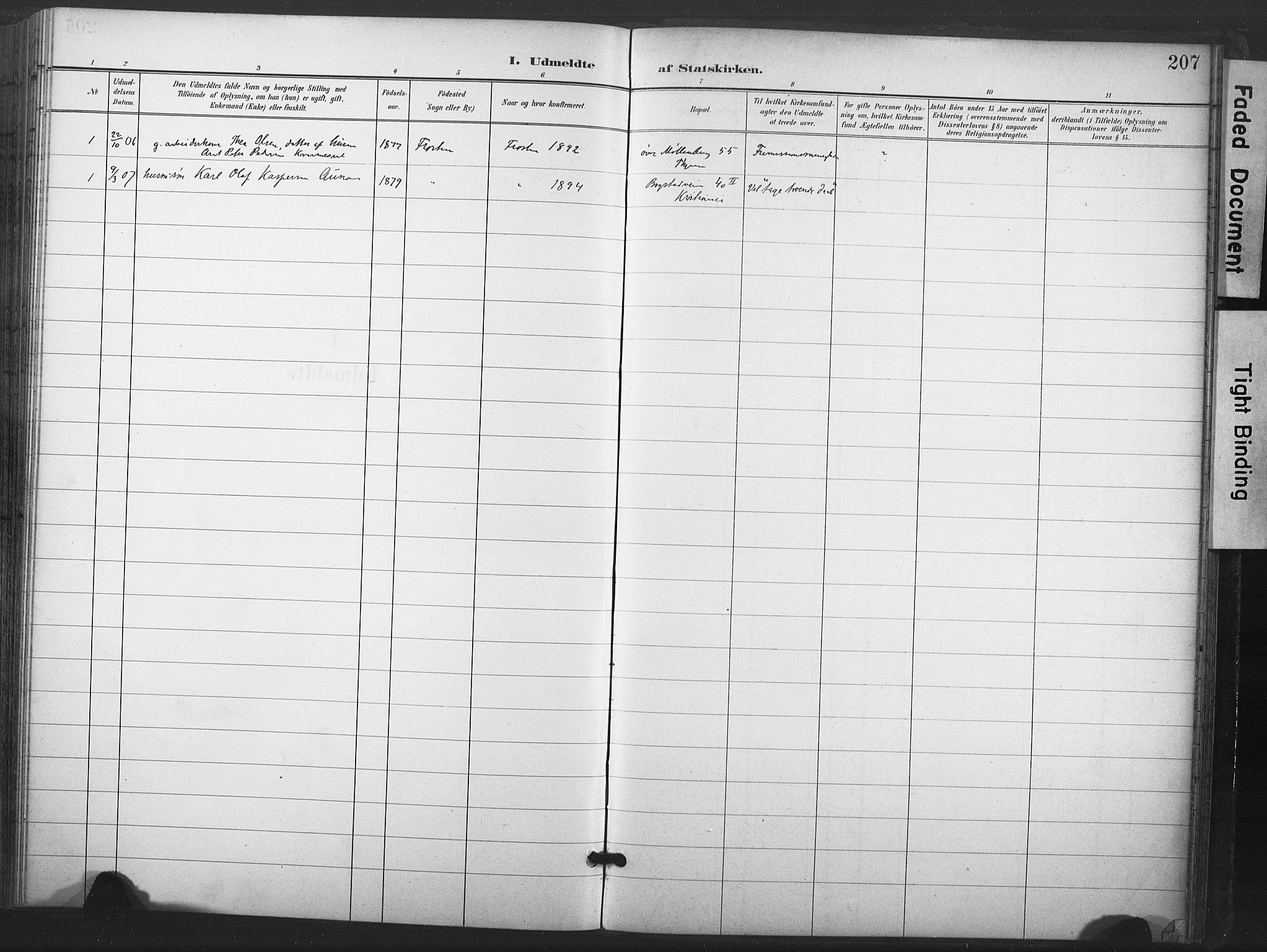 SAT, Ministerialprotokoller, klokkerbøker og fødselsregistre - Nord-Trøndelag, 713/L0122: Ministerialbok nr. 713A11, 1899-1910, s. 207