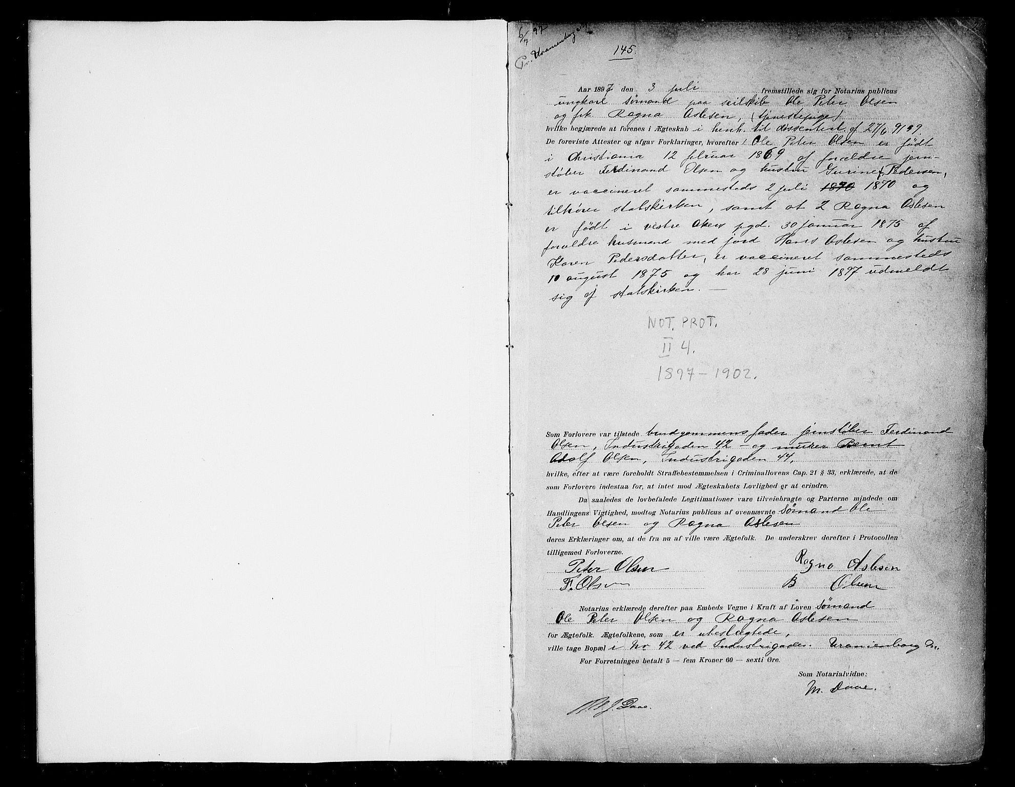 SAO, Oslo byfogd avd. I, L/Lb/Lbb/L0004: Notarialprotokoll, rekke II: Vigsler, 1897-1902, s. 1a