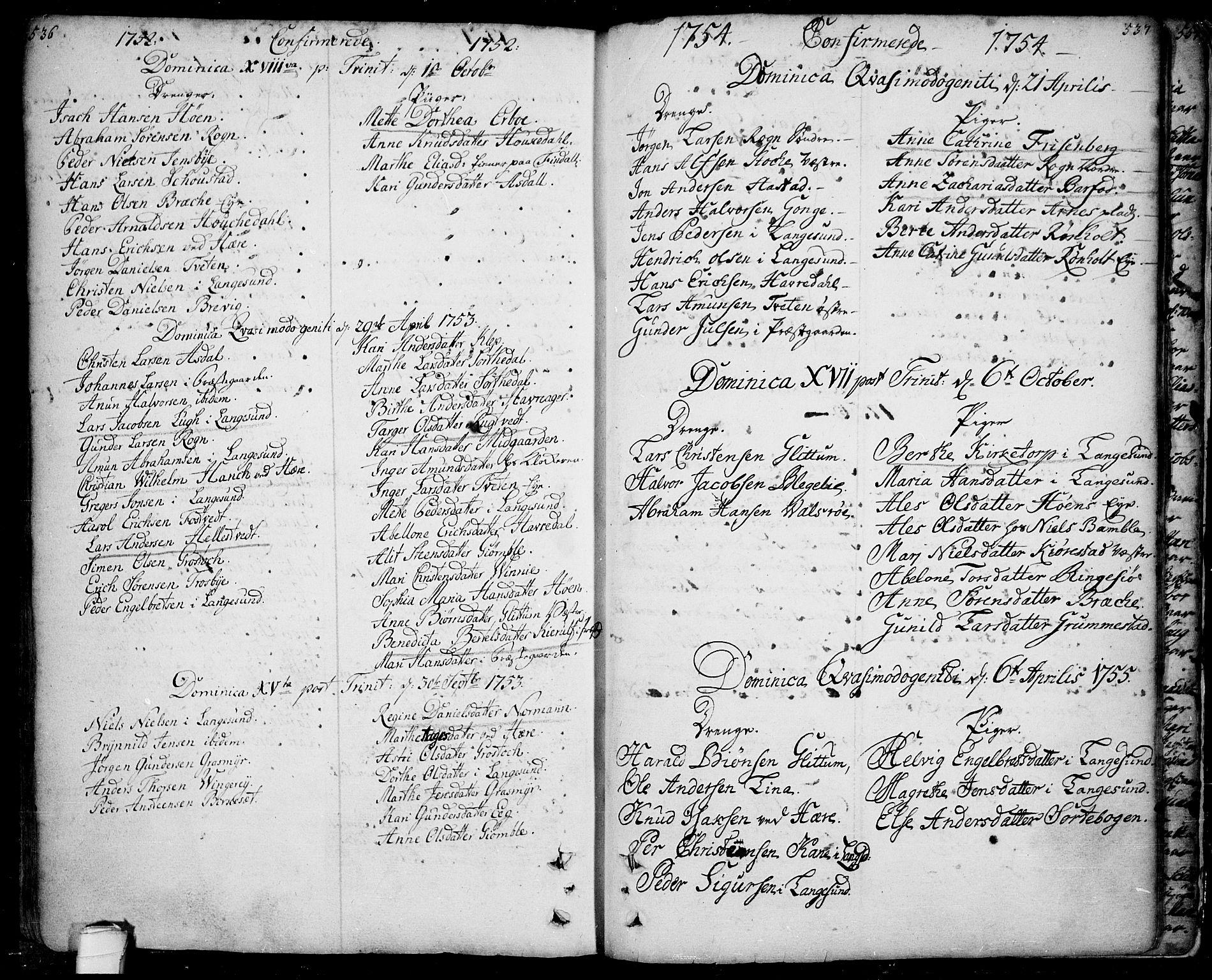 SAKO, Bamble kirkebøker, F/Fa/L0001: Ministerialbok nr. I 1, 1702-1774, s. 536-537