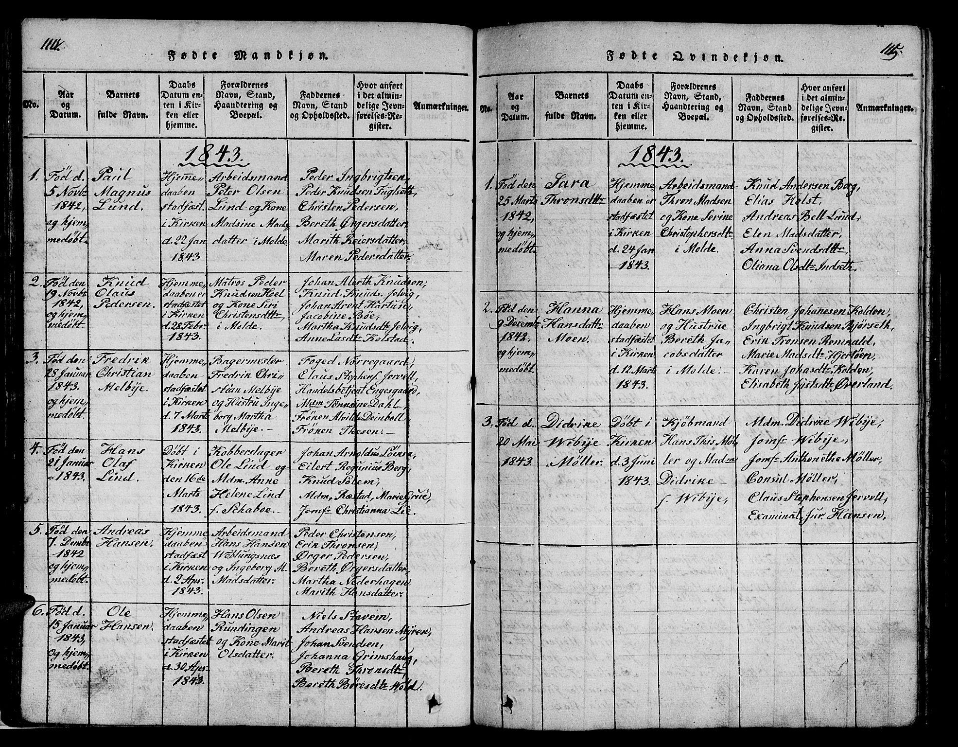 SAT, Ministerialprotokoller, klokkerbøker og fødselsregistre - Møre og Romsdal, 558/L0700: Klokkerbok nr. 558C01, 1818-1868, s. 114-115
