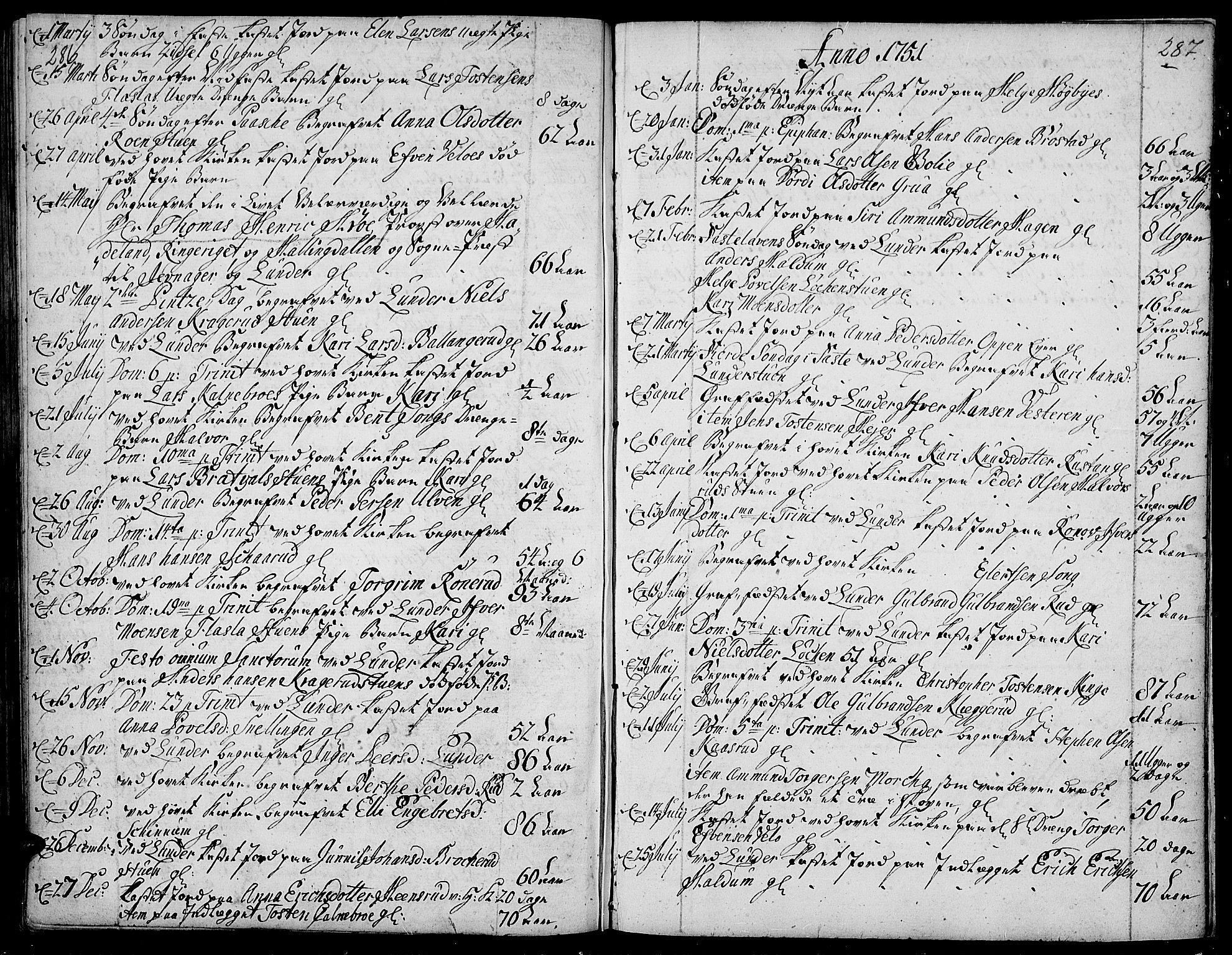 SAH, Jevnaker prestekontor, Ministerialbok nr. 2, 1725-1751, s. 286-287