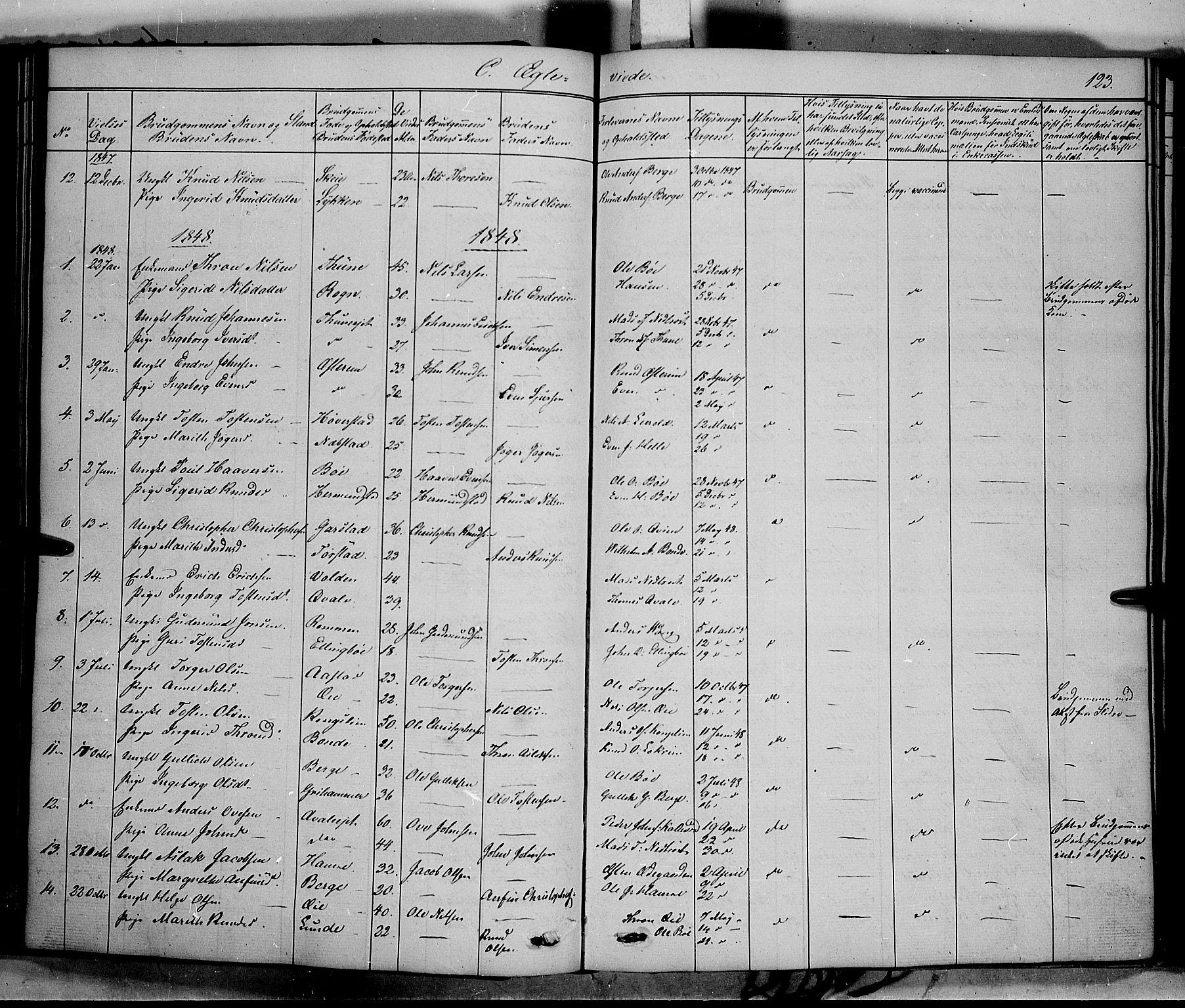 SAH, Vang prestekontor, Valdres, Ministerialbok nr. 6, 1846-1864, s. 123