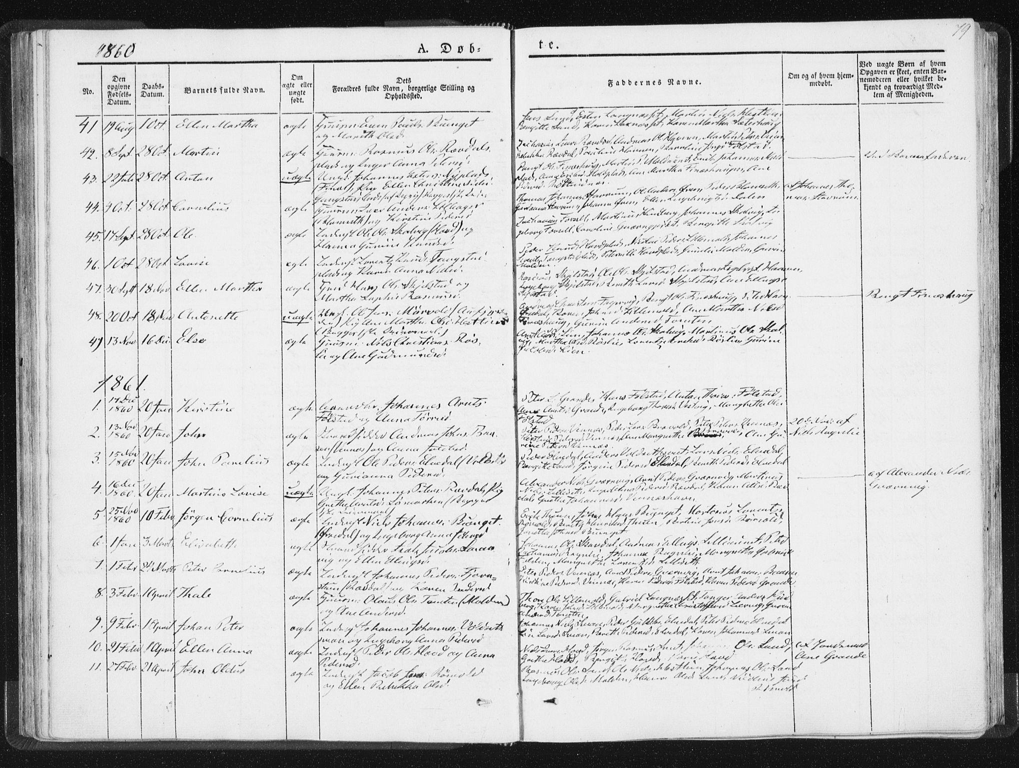 SAT, Ministerialprotokoller, klokkerbøker og fødselsregistre - Nord-Trøndelag, 744/L0418: Ministerialbok nr. 744A02, 1843-1866, s. 79