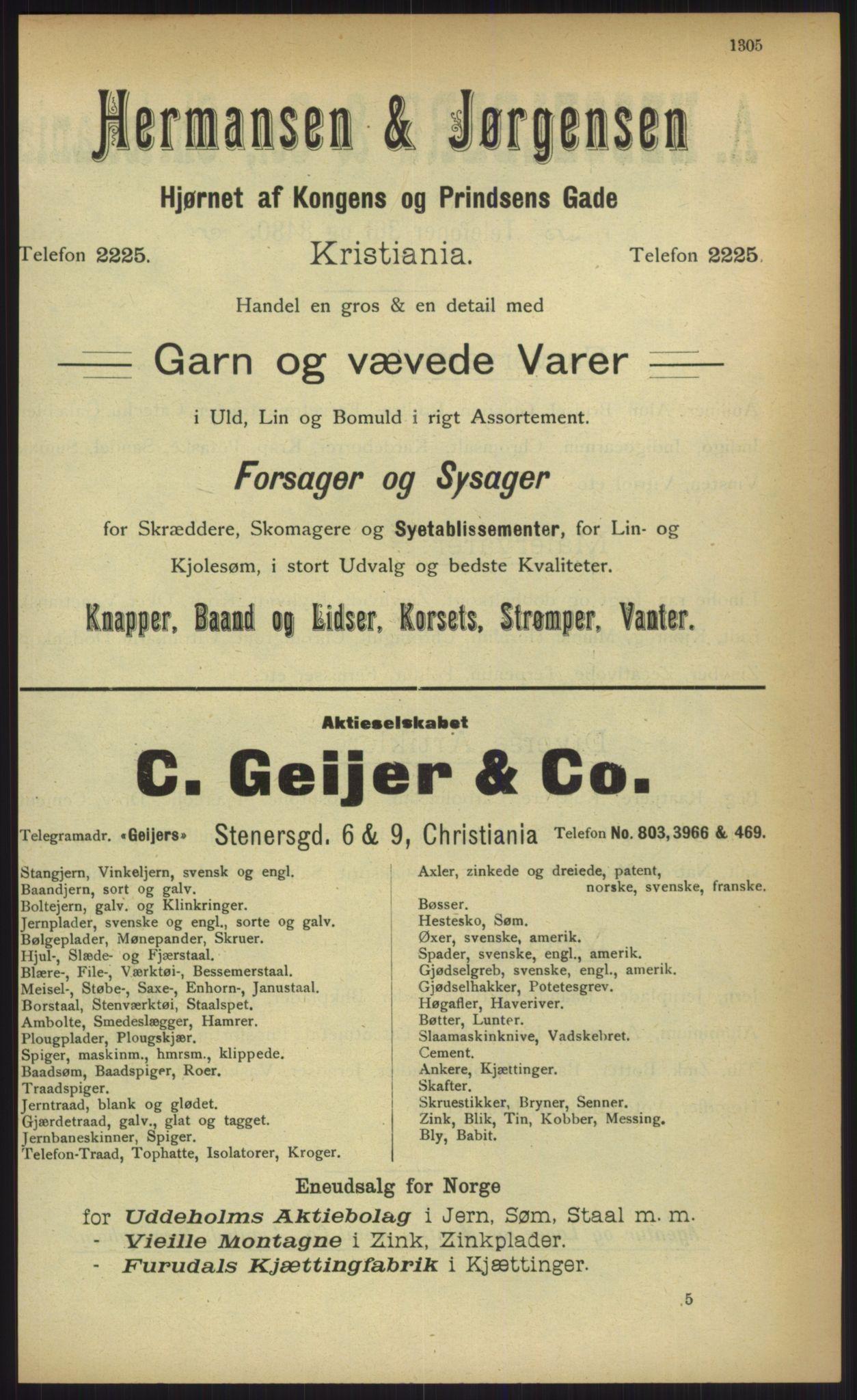 RA, Kristiania adressebok (publikasjon)*, 1903, s. 1305