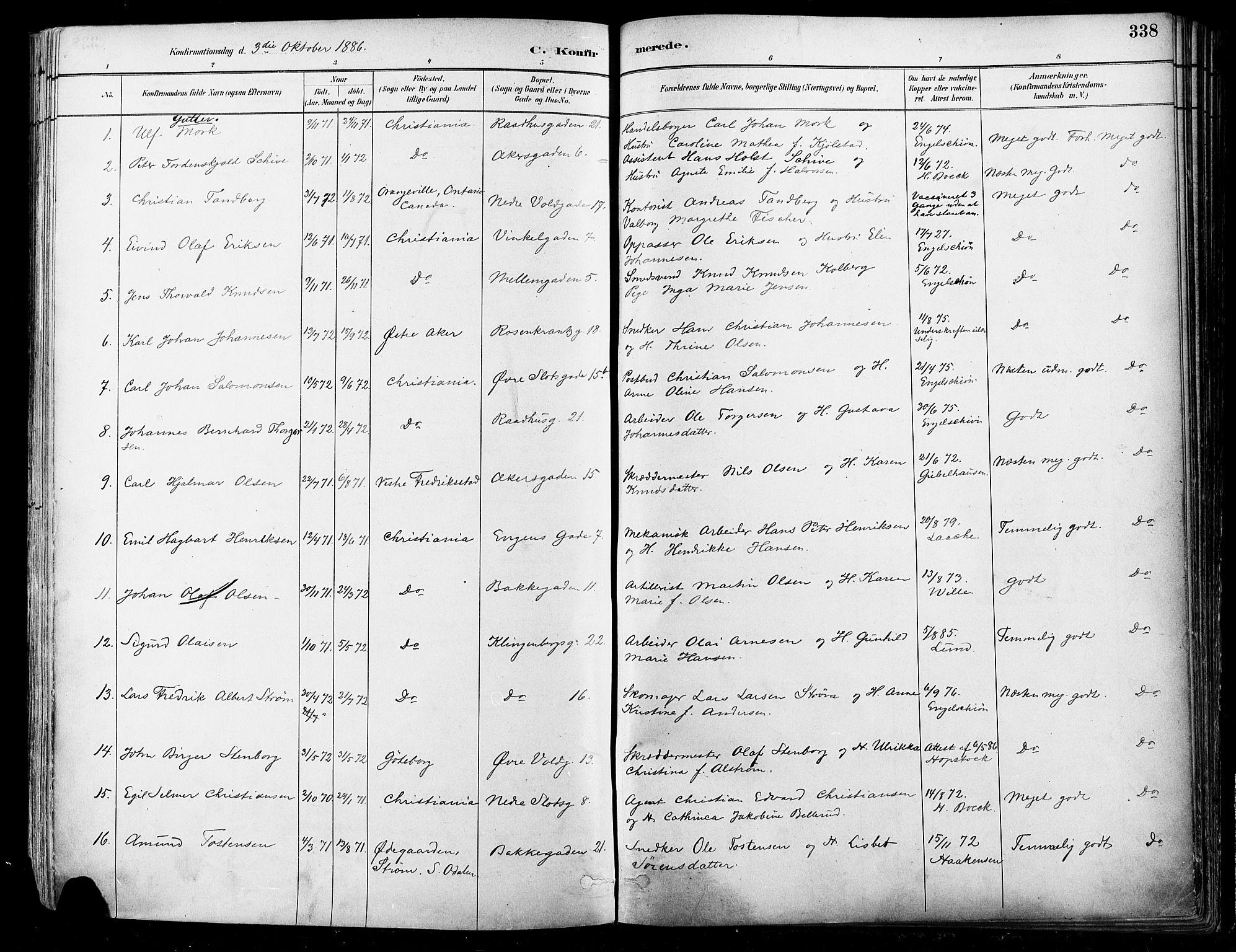 SAO, Johannes prestekontor Kirkebøker, F/Fa/L0003: Ministerialbok nr. 3, 1882-1896, s. 338