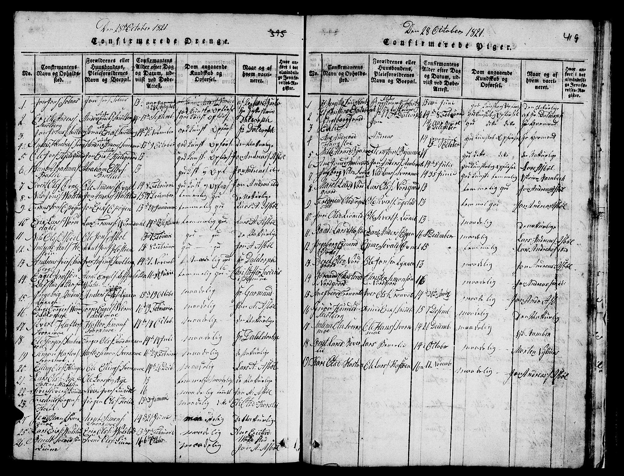 SAT, Ministerialprotokoller, klokkerbøker og fødselsregistre - Sør-Trøndelag, 671/L0842: Klokkerbok nr. 671C01, 1816-1867, s. 418-419