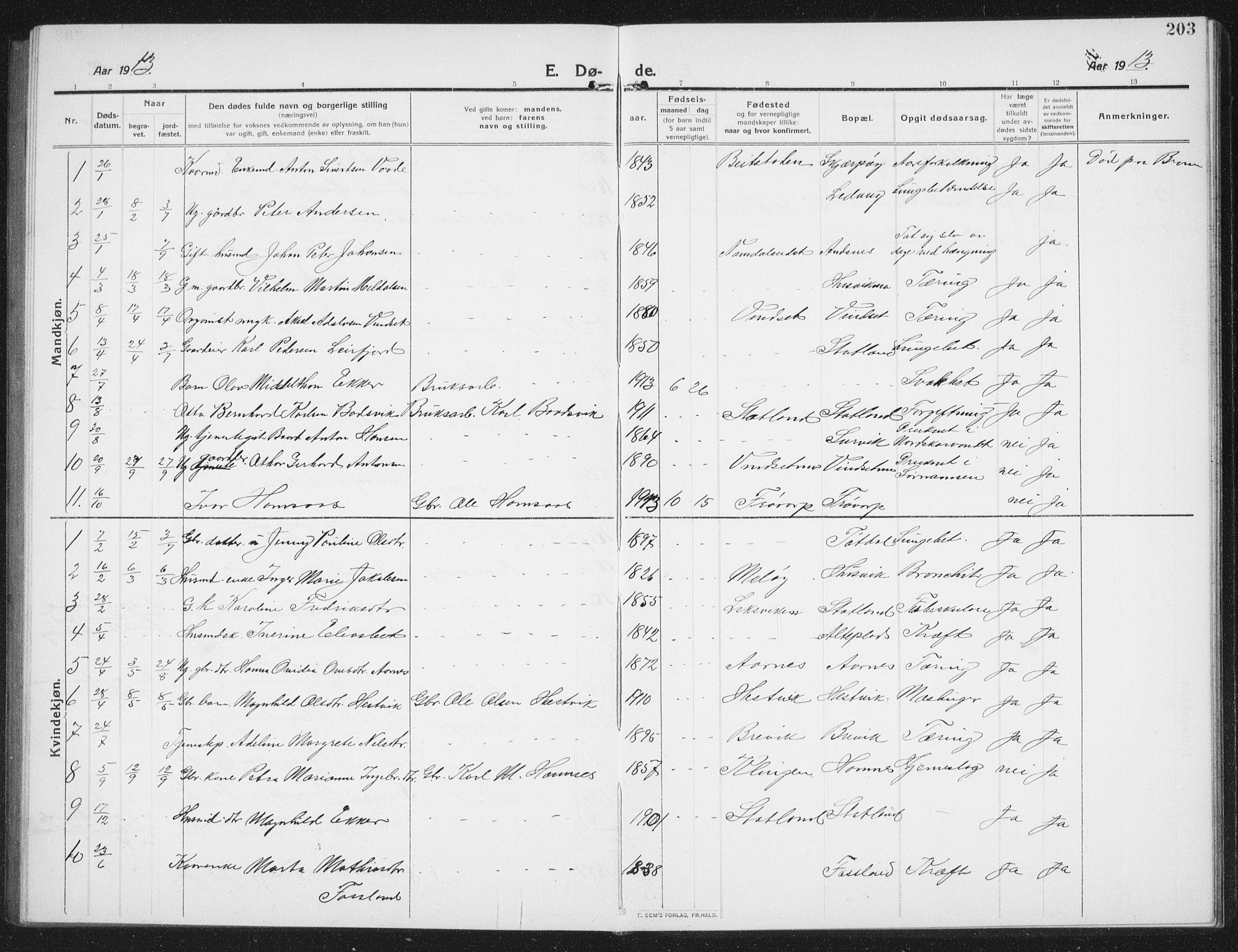 SAT, Ministerialprotokoller, klokkerbøker og fødselsregistre - Nord-Trøndelag, 774/L0630: Klokkerbok nr. 774C01, 1910-1934, s. 203