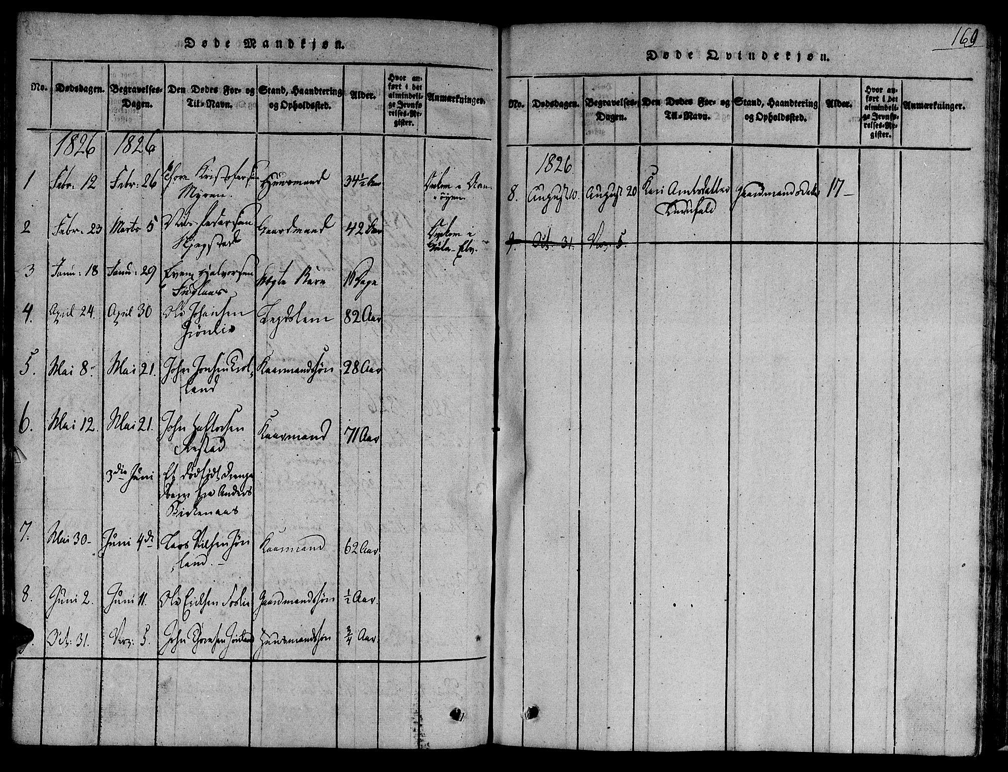 SAT, Ministerialprotokoller, klokkerbøker og fødselsregistre - Sør-Trøndelag, 691/L1068: Ministerialbok nr. 691A03 /4, 1816-1826, s. 169