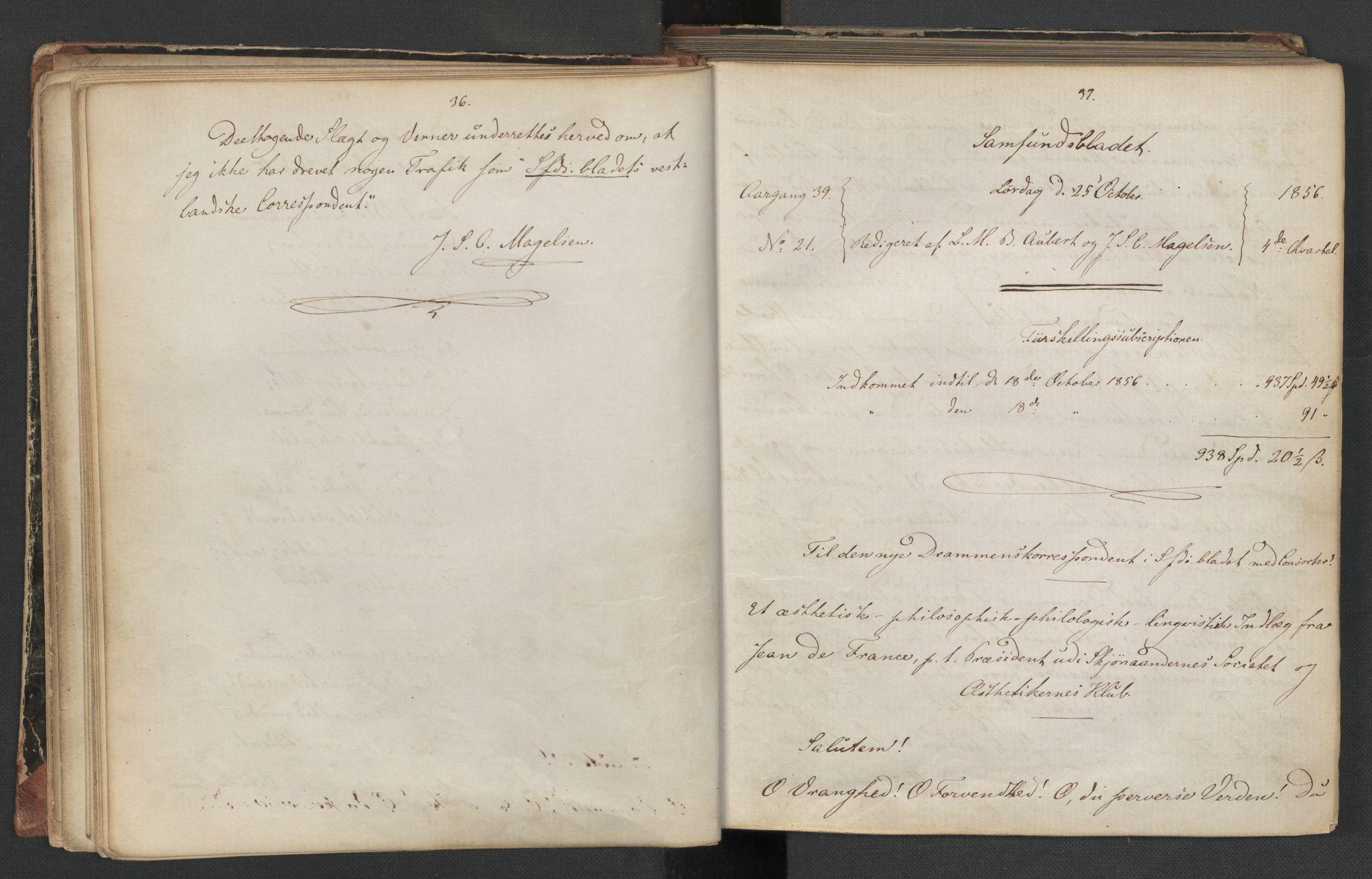 RA, Det Norske Studentersamfund, X/Xa/L0006, 1856-1857, s. 22