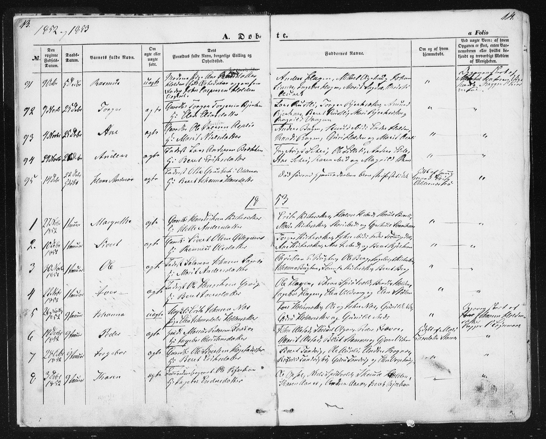 SAT, Ministerialprotokoller, klokkerbøker og fødselsregistre - Sør-Trøndelag, 630/L0494: Ministerialbok nr. 630A07, 1852-1868, s. 13-14