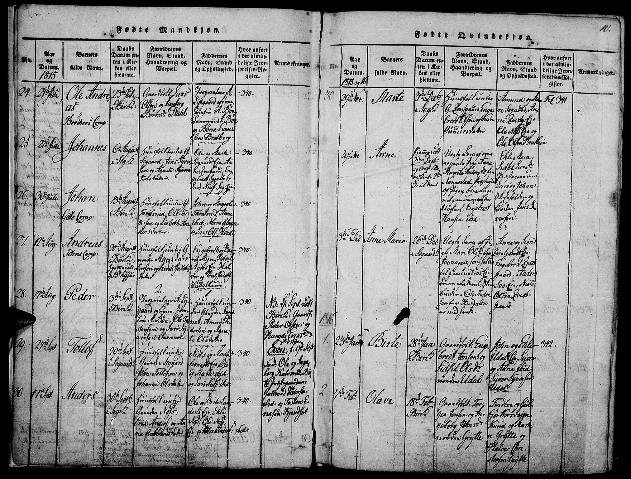 SAH, Biri prestekontor, Ministerialbok nr. 3, 1814-1828, s. 10