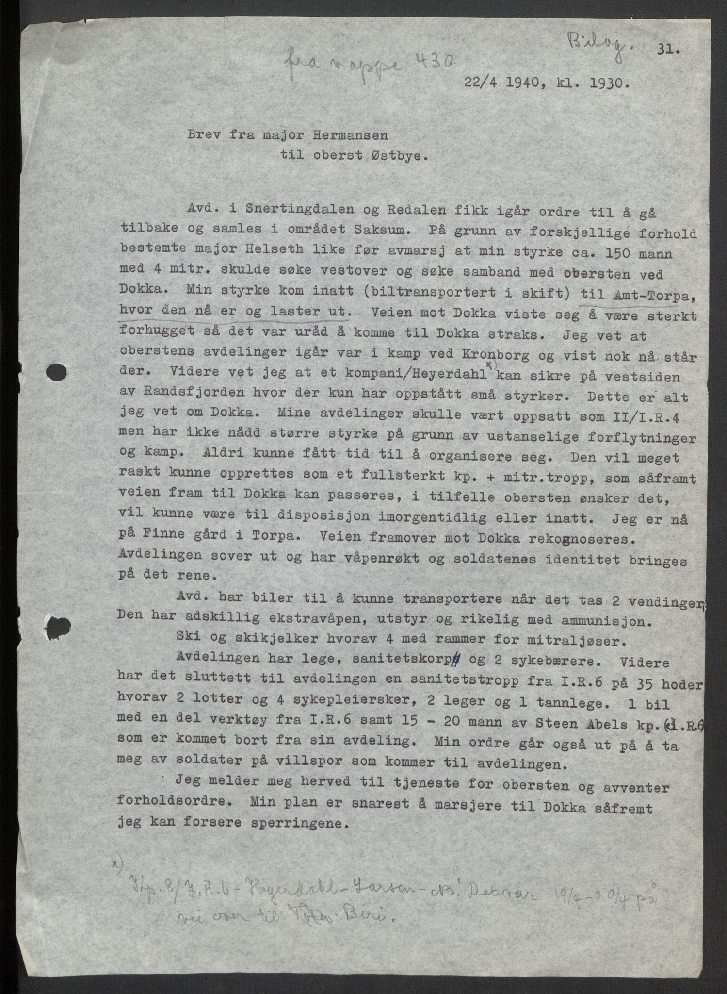 RA, Forsvaret, Forsvarets krigshistoriske avdeling, Y/Yb/L0104: II-C-11-430  -  4. Divisjon., 1940, s. 271