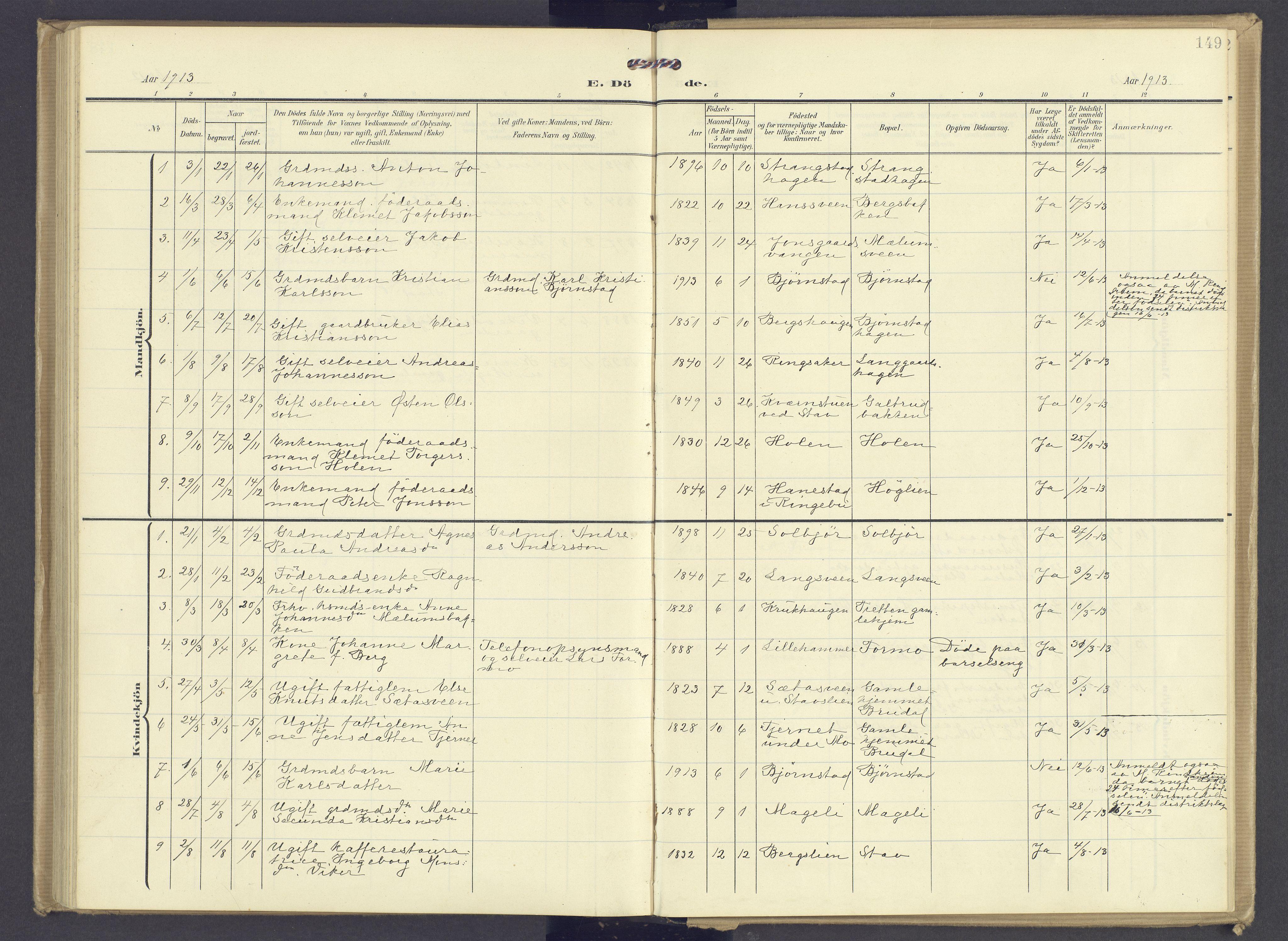 SAH, Øyer prestekontor, Ministerialbok nr. 13, 1905-1920, s. 149