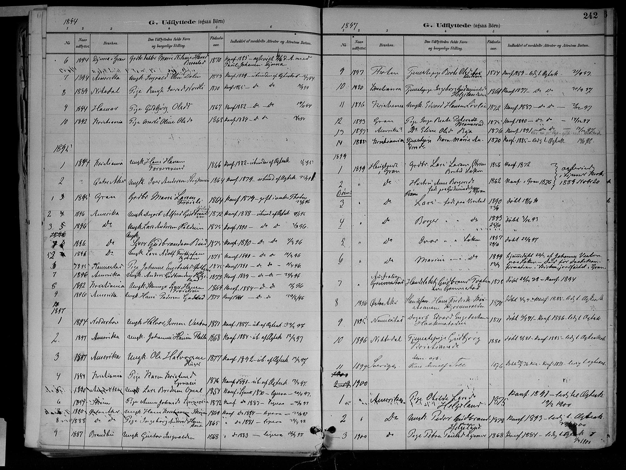 SAH, Jevnaker prestekontor, Ministerialbok nr. 10, 1891-1906, s. 242