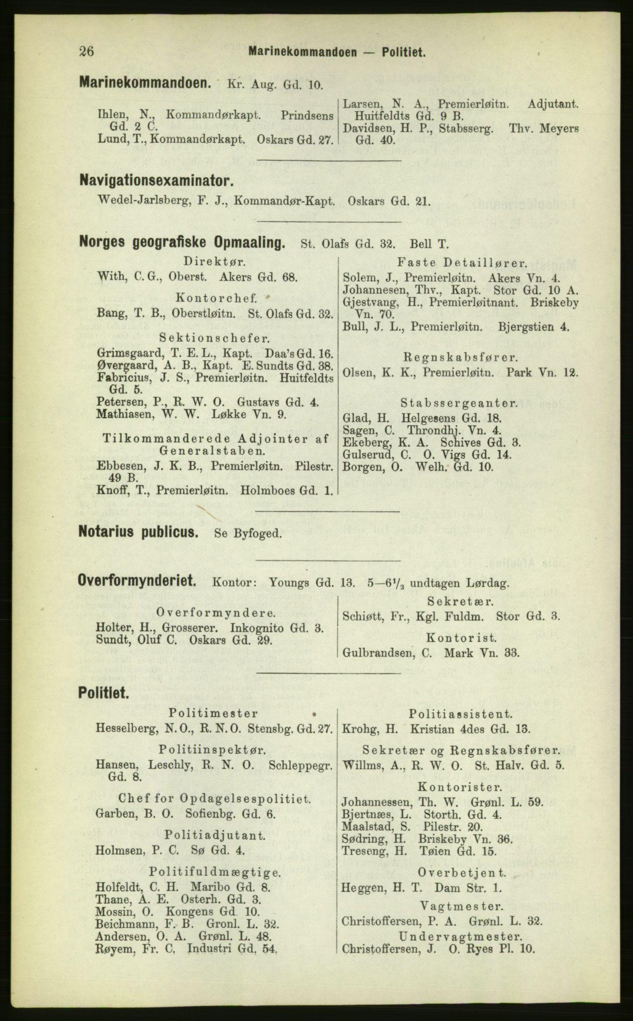 PUBL, Kristiania/Oslo adressebok, 1883, s. 26